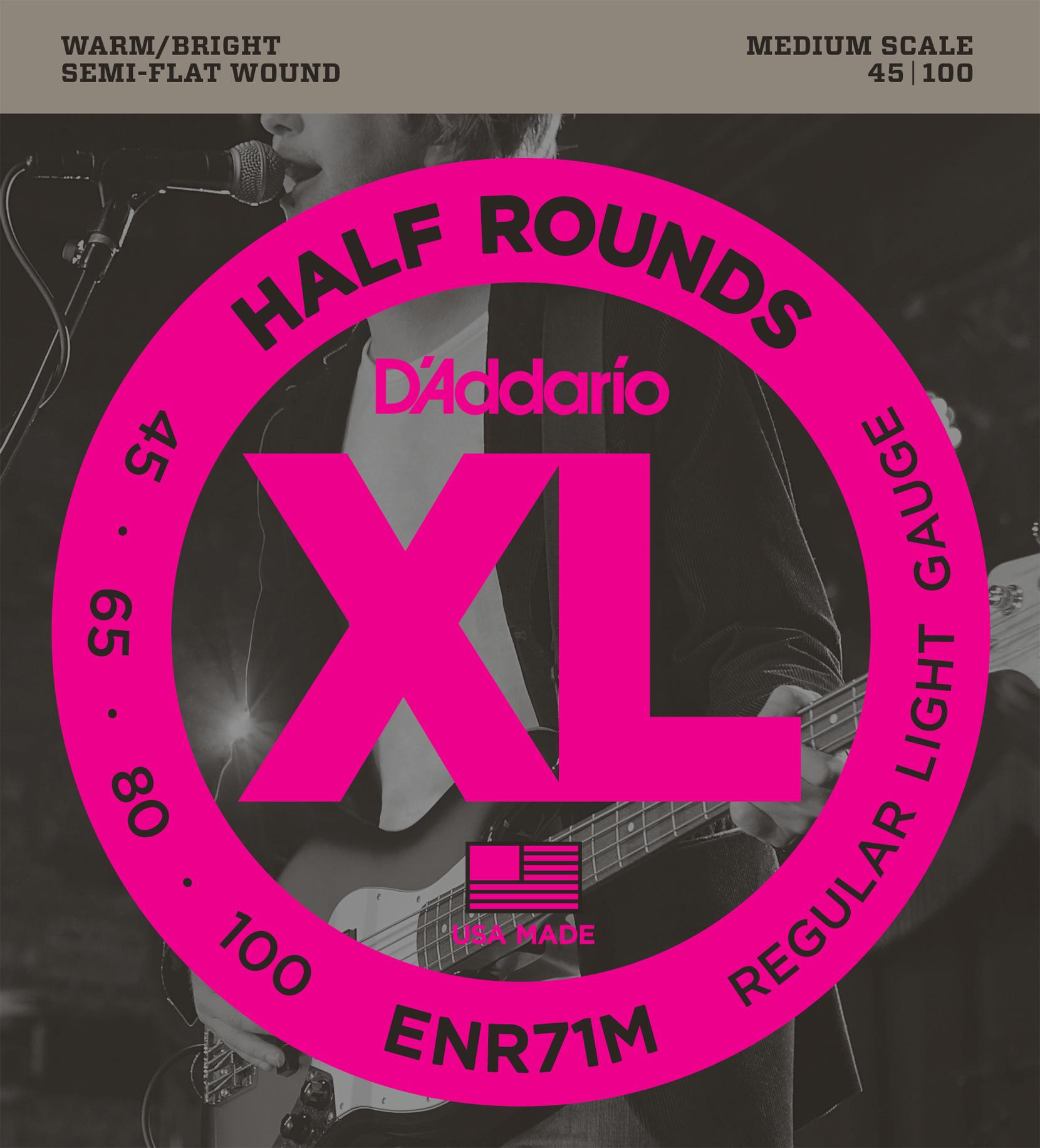 D'addario ENR71M semi-flat wound medium scale 45-100 Bass string set