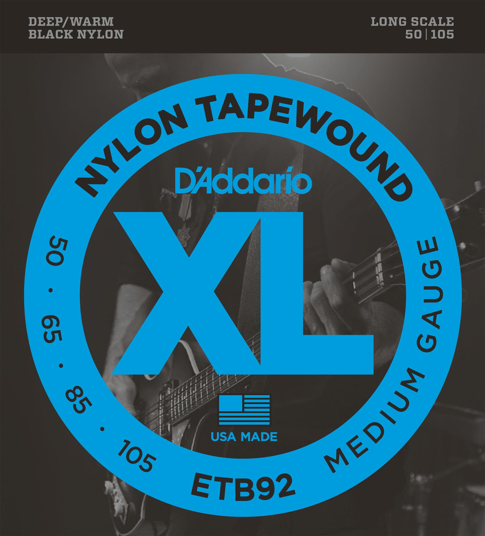 D'Addario ETB92 Tapewound Bass Guitar Strings, Medium, 50-105 Long Scale