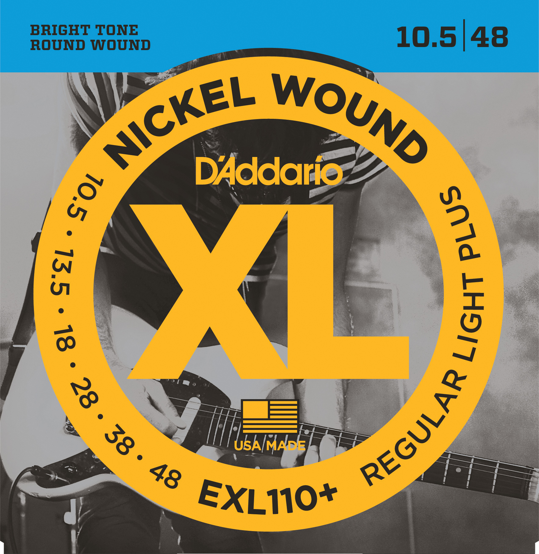 D'Addario EXL110+ Nickel Wound Electric Guitar Strings, Regular Light Plus, 10.5...