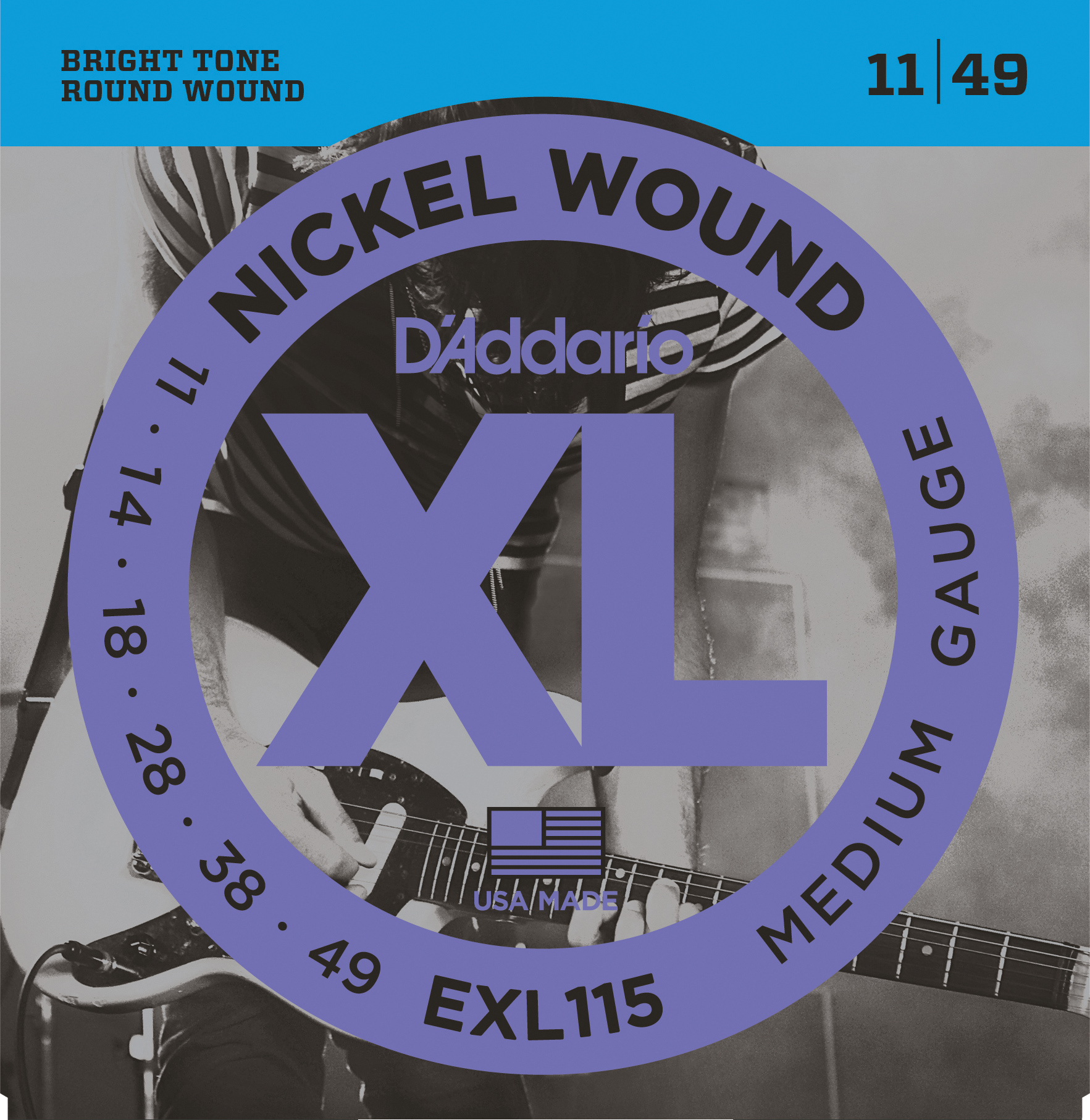 D'Addario EXL115 Nickel Wound Electric Guitar Strings, Medium/Blues-Jazz Rock, 1...