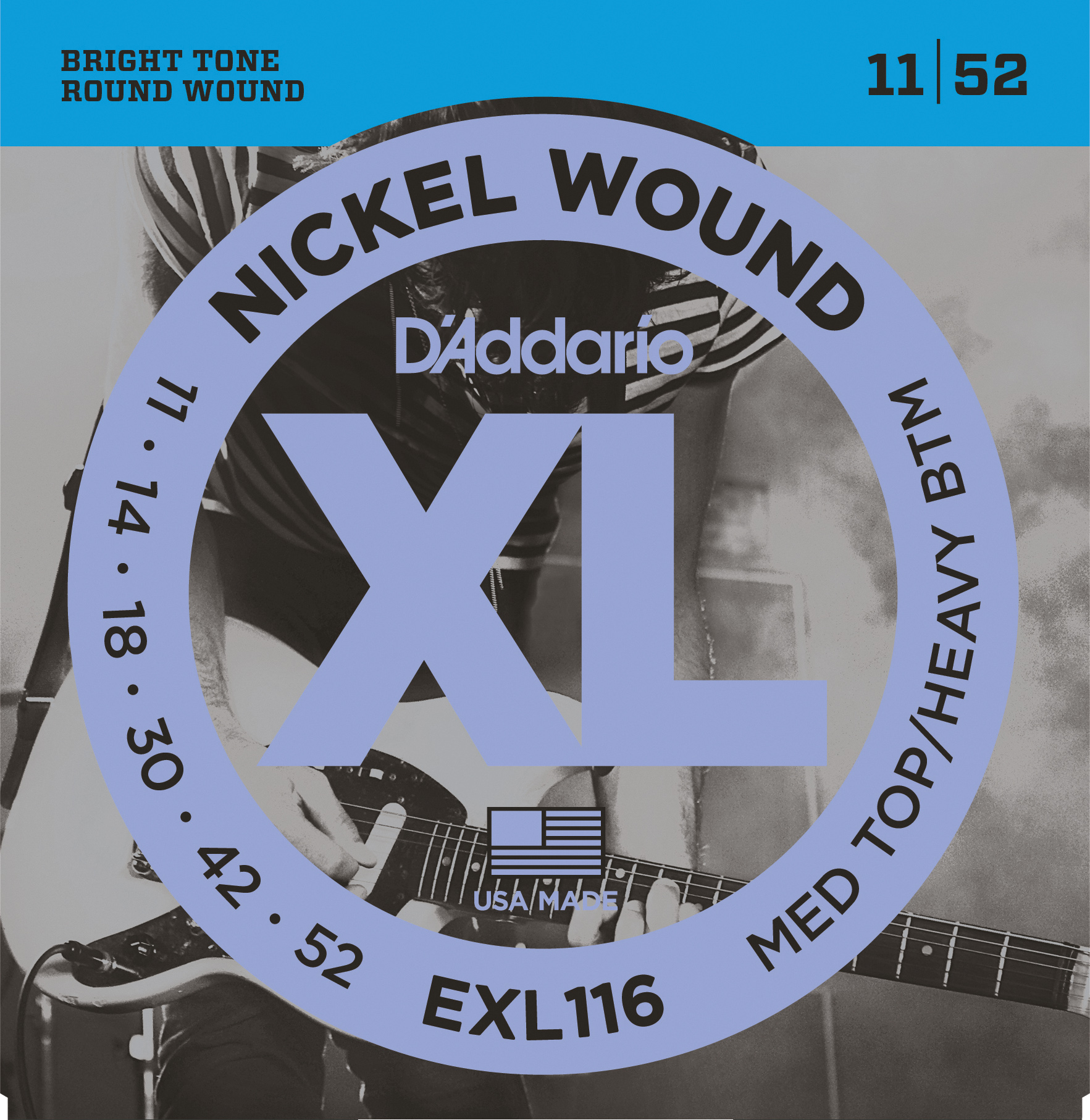 D'Addario EXL116 Nickel Wound Electric Guitar Strings, Medium Top/Heavy Bottom, ...