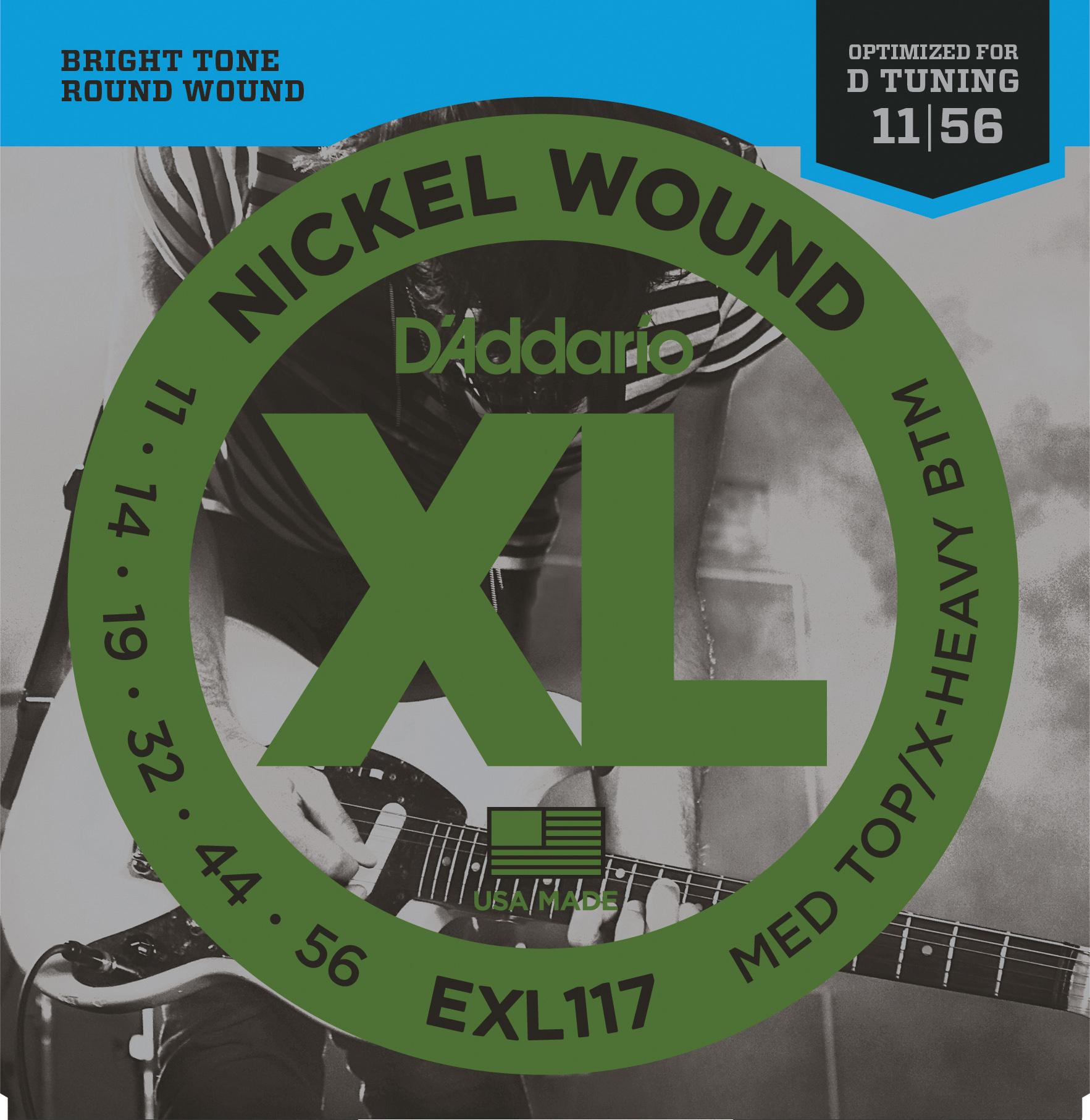 D'Addario EXL117 Nickel Wound Electric Guitar Strings, Medium Top/Extra-Heavy Bo...
