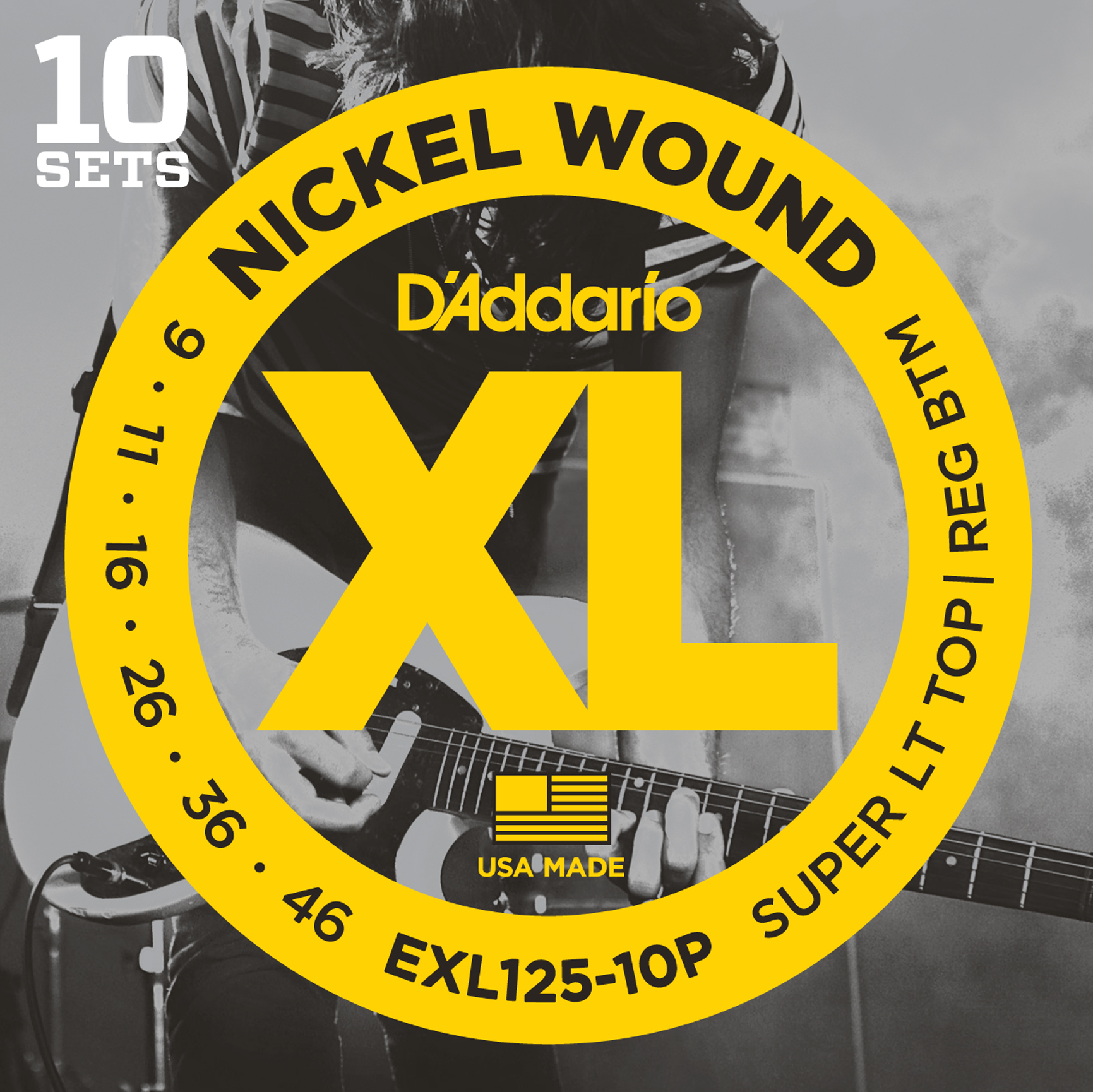 D'Addario EXL125-10P Nickel Wound Electric Guitar Strings, Super Light Top/Regul...