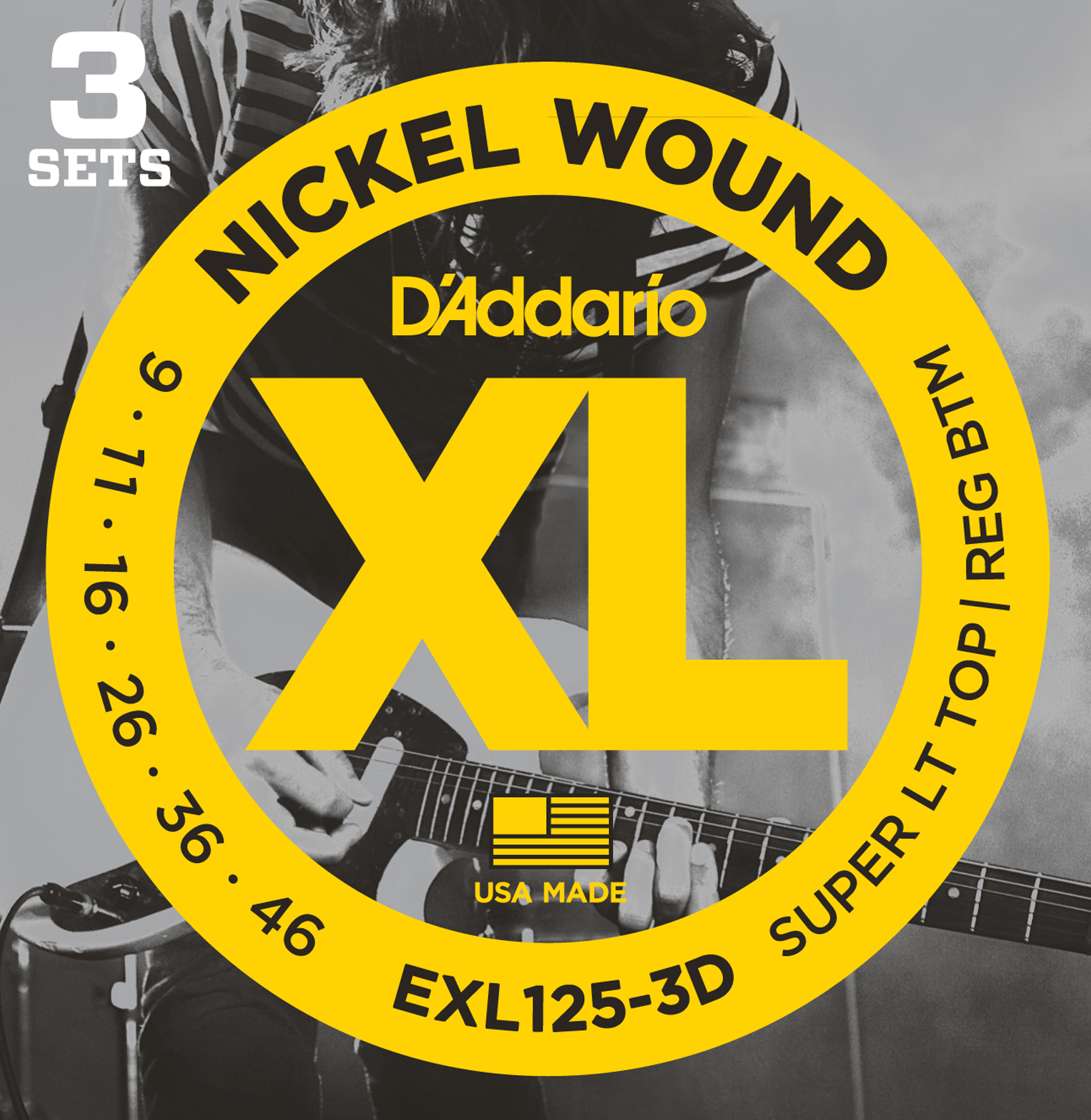 D'Addario EXL125-3D Nickel Wound Electric Guitar Strings, Super Light Top/Regula...