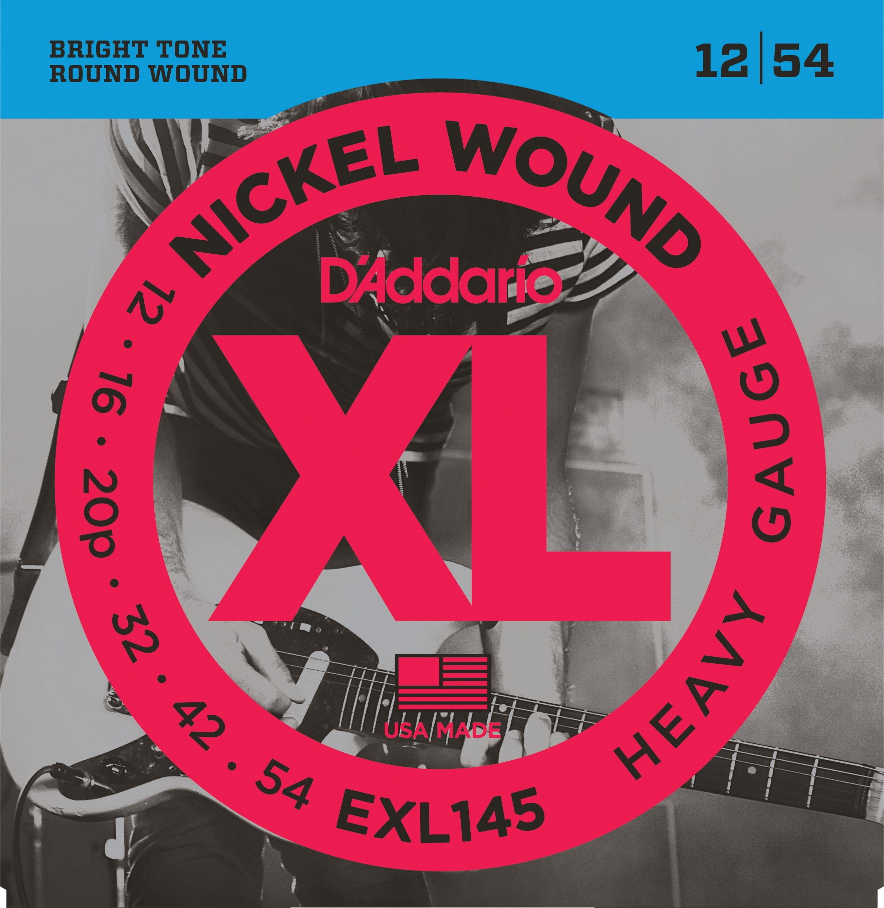 D'Addario EXL145 Nickel Wound Electric Guitar Strings Heavy 12-54 with Plain S...