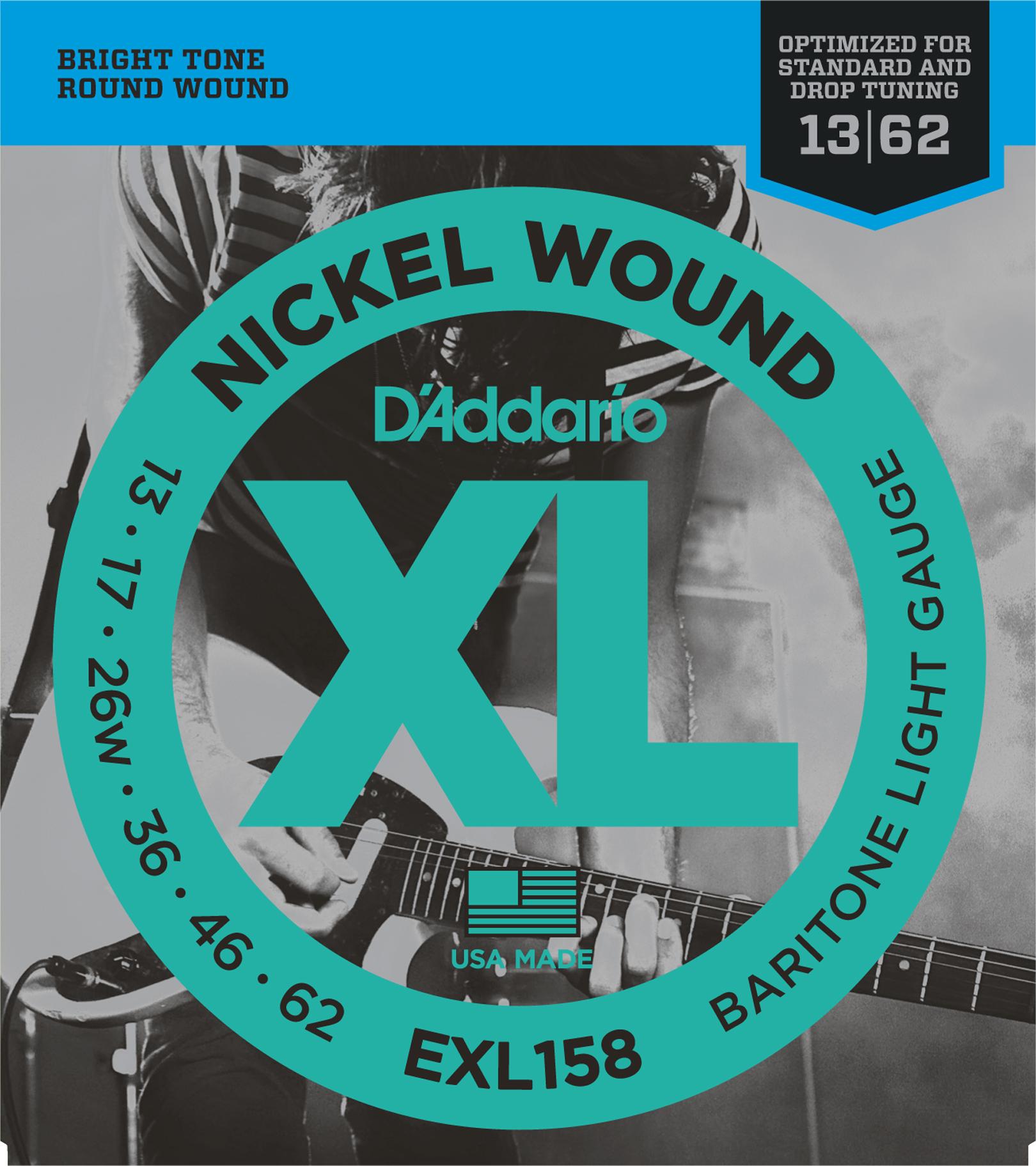 D'Addario EXL158 Nickel Wound Electric Guitar Strings Baritone Light, 13-62