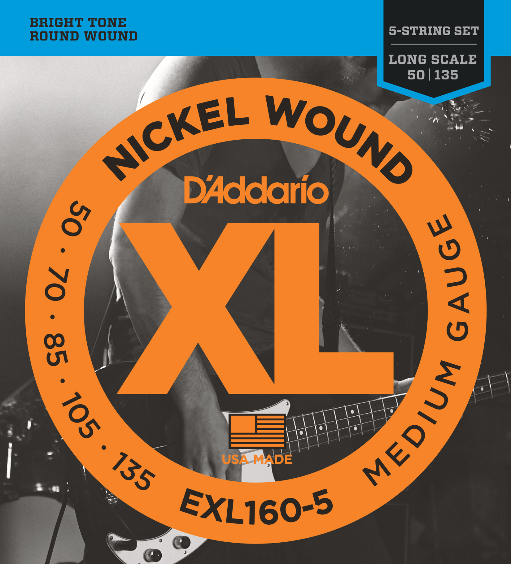 D'Addario EXL160-5 5-String Nickel Wound Bass Guitar Strings, Medium, 50-135 Lon...
