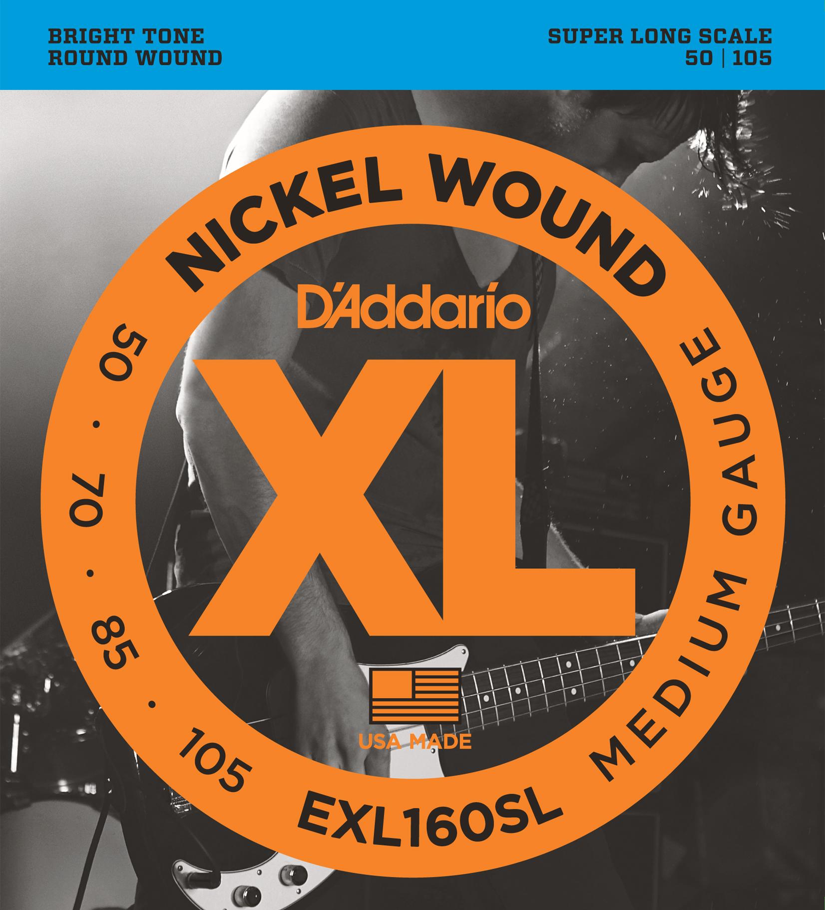 D'Addario EXL160SL Nickel Wound Bass Guitar Strings, Medium, 50-105, Super Long ...