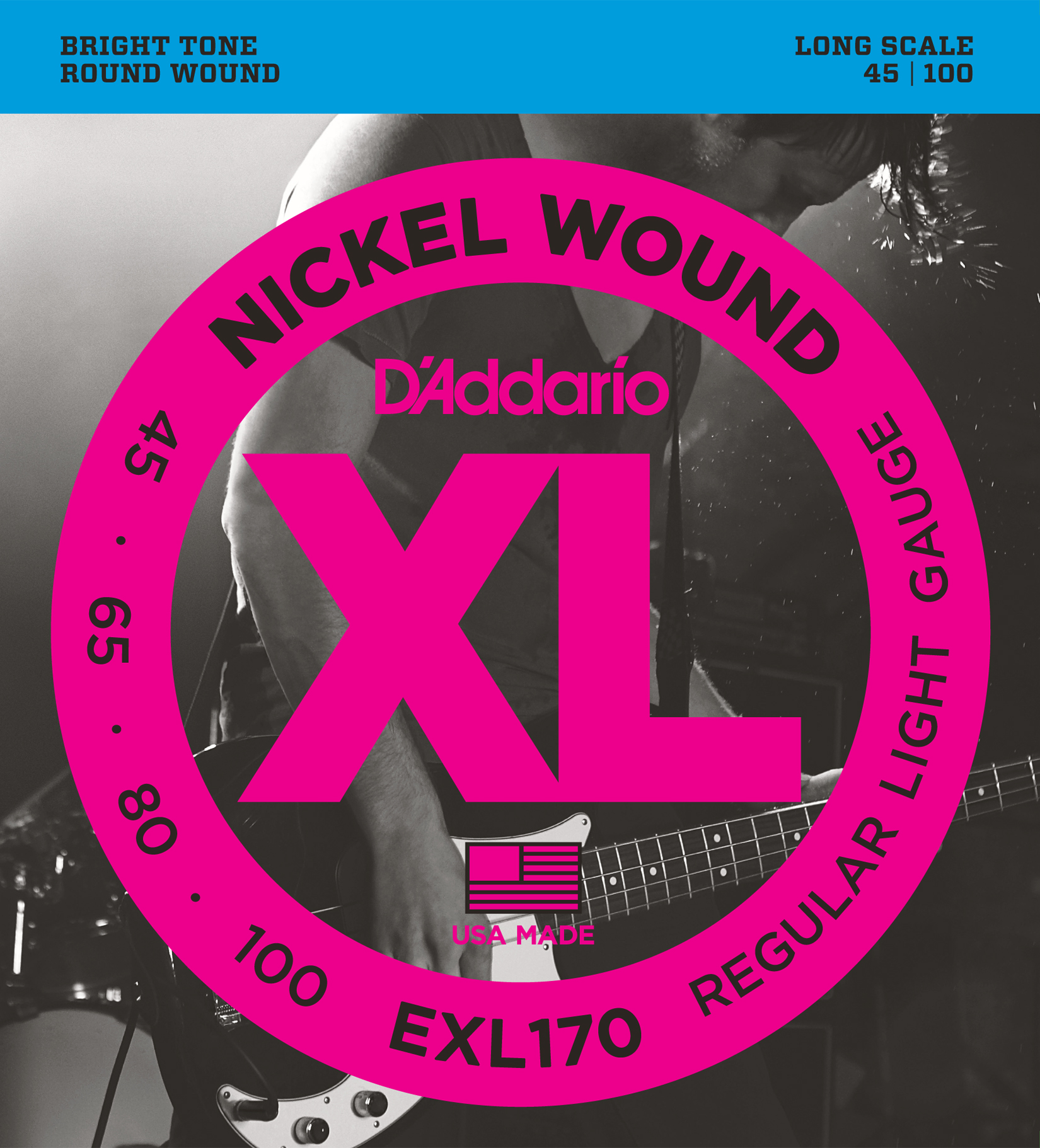 D'Addario EXL170 Bass, Light, 45-100, Long Scale