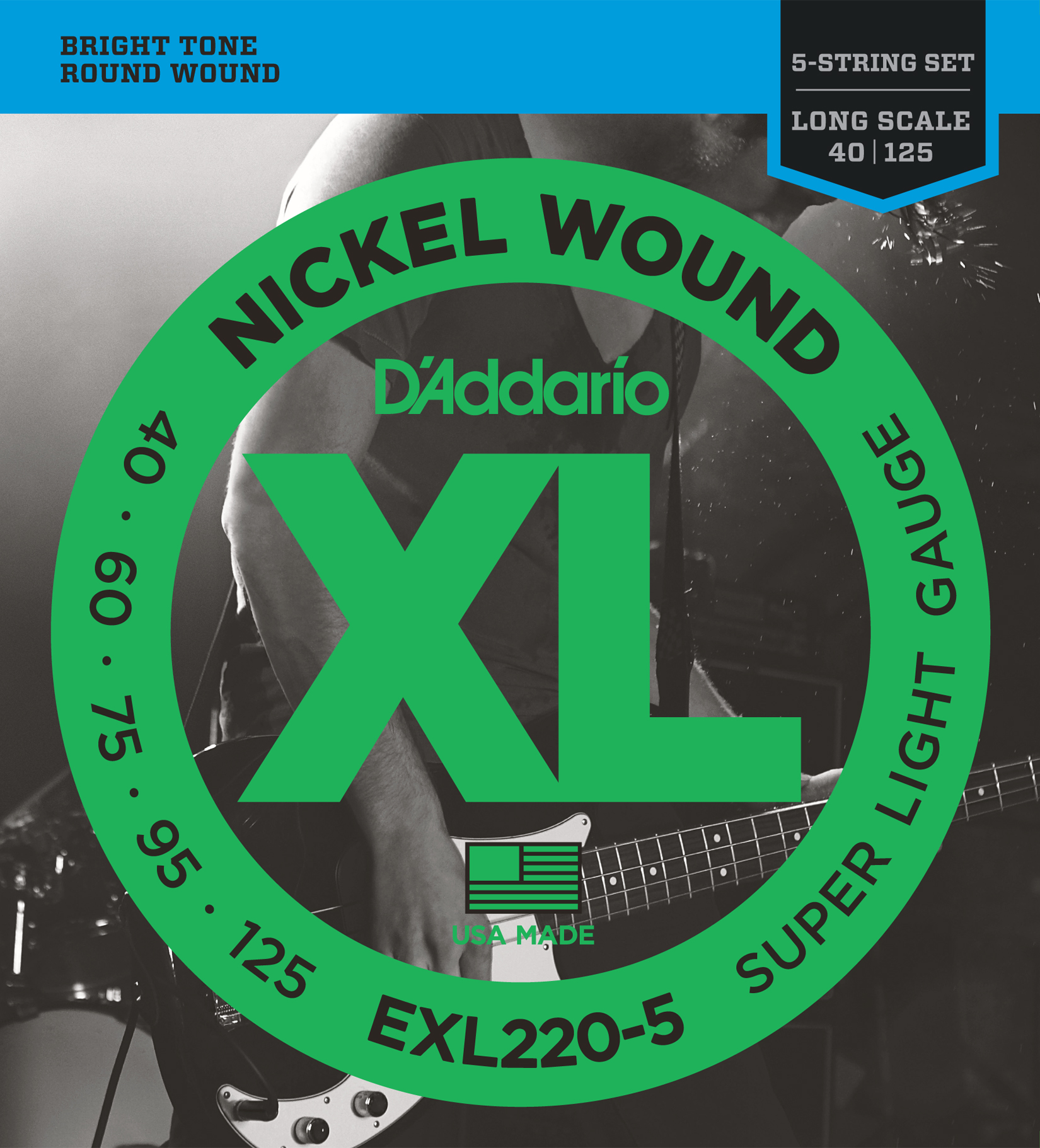 D'Addario EXL220-5 5-String Nickel Wound Bass Guitar Strings, Super Light, 40-12...