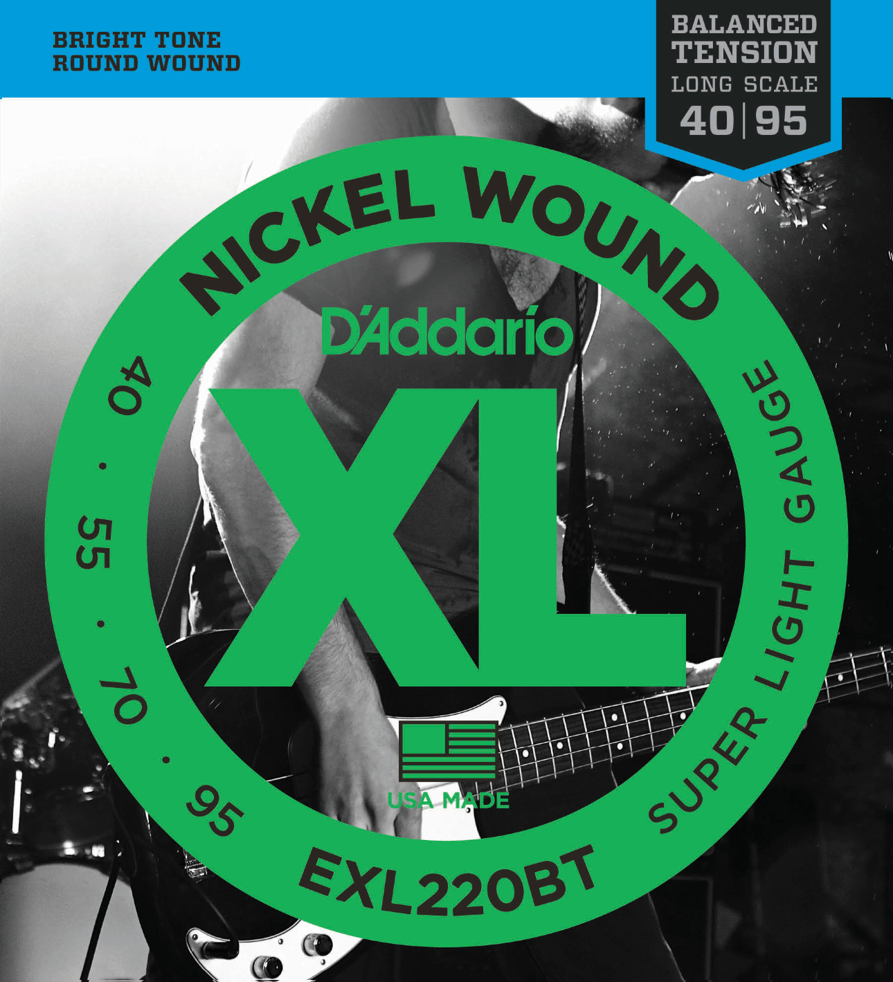 D'Addario EXL220BT Nickel Wound Bass Guitar Strings Balanced Tension Super Light...