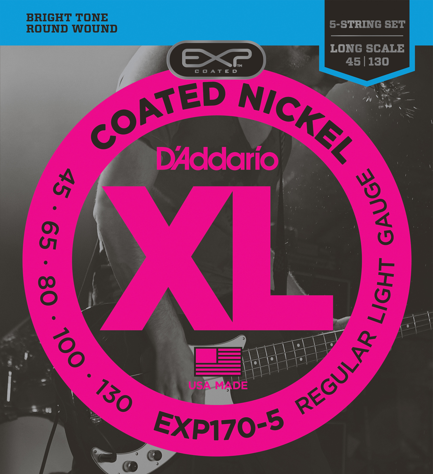 D'Addario EXP170-5 Coated 5-String Bass Guitar Strings, Light, 45-130, Long Scal...