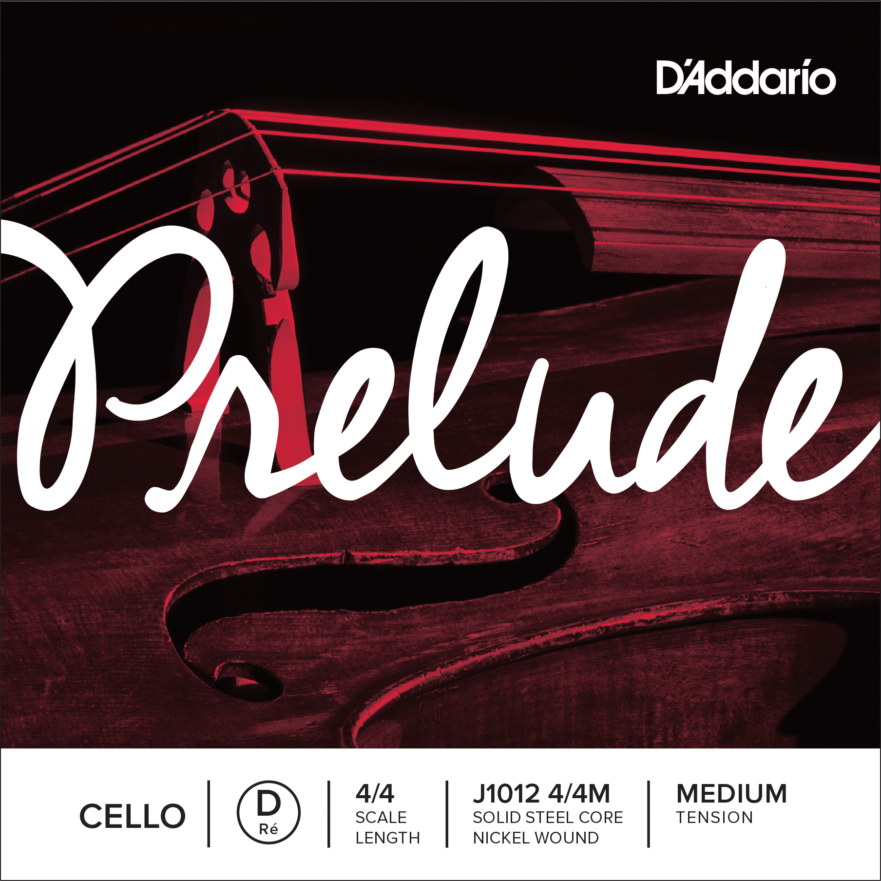 D'Addario Prelude Cello Single D String 4/4 Scale Medium Tension