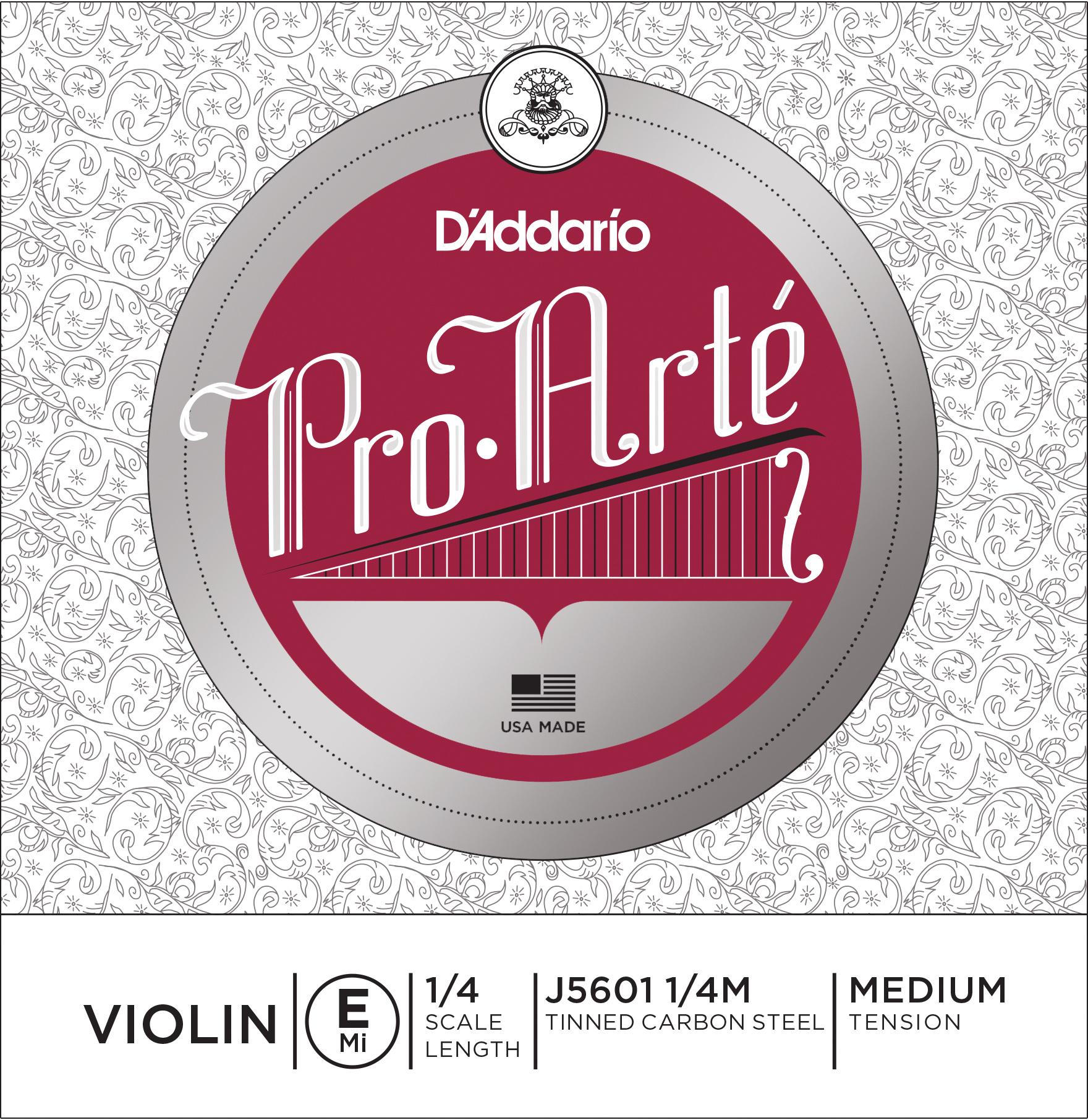 D'Addario Pro-Arte Violin Single E String 1/4 Scale Medium Tension