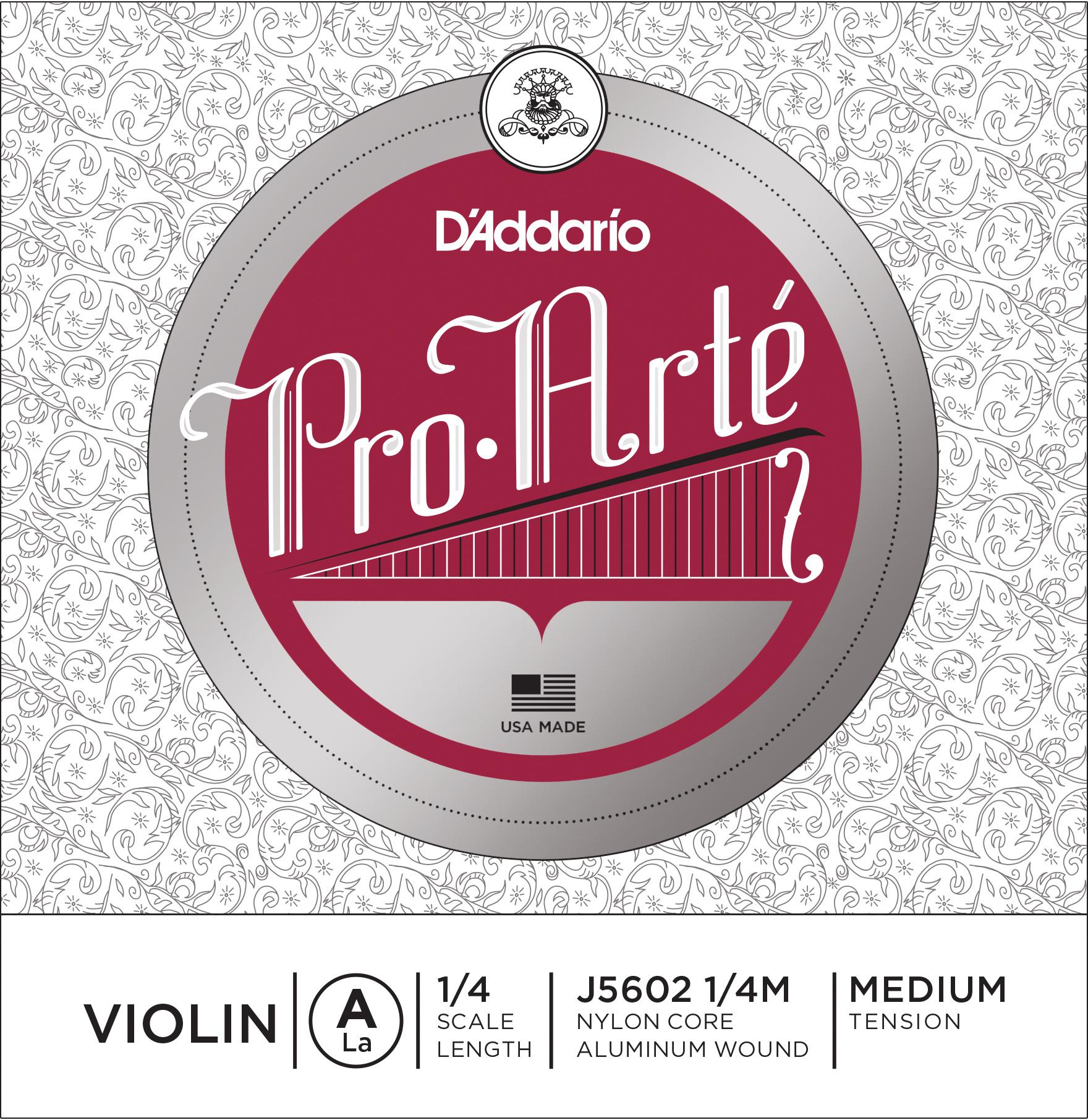 D'Addario Pro-Arte Violin Single A String 1/4 Scale Medium Tension
