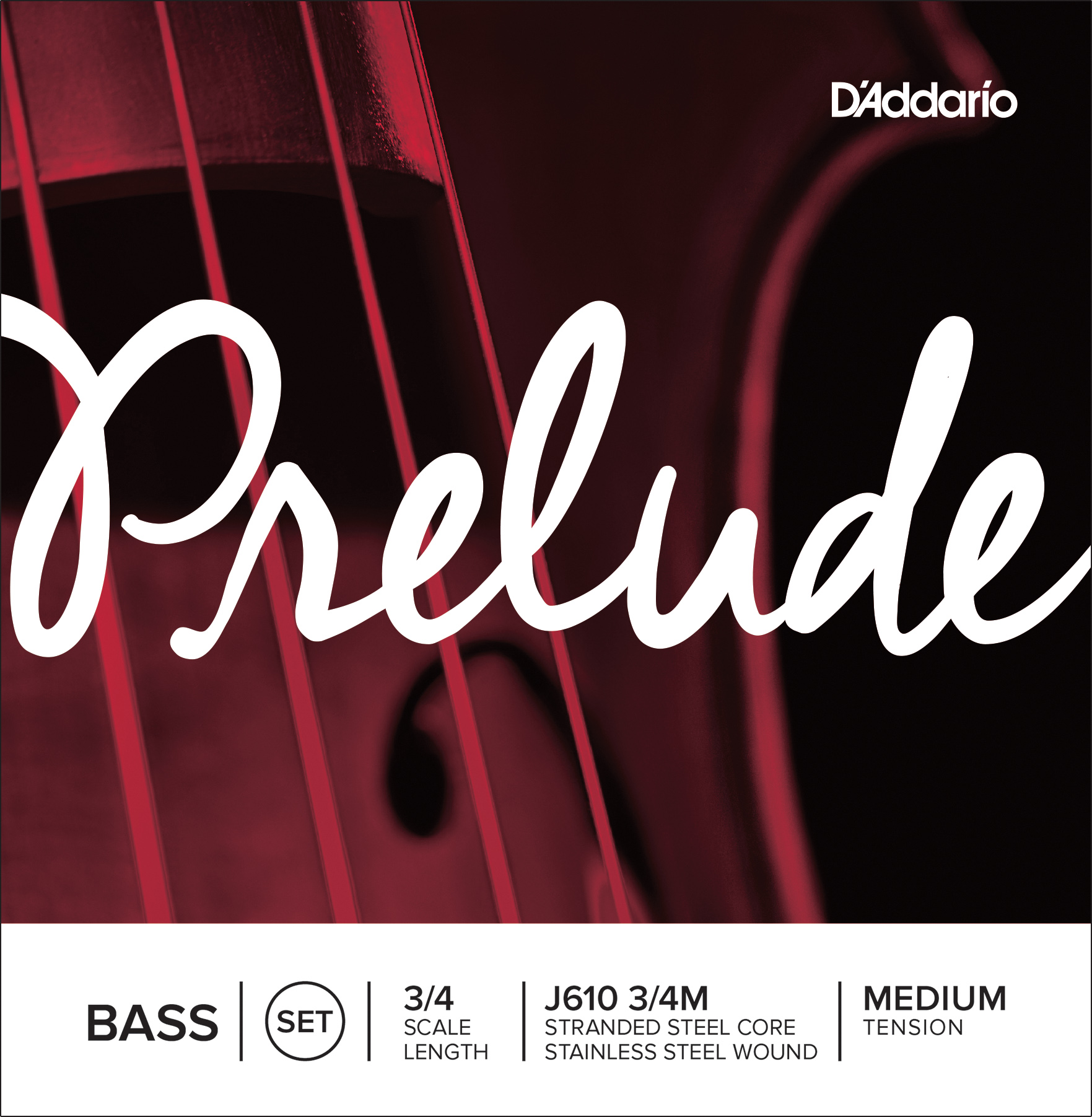 D'Addario Prelude Bass String Set 3/4 Scale Medium Tension