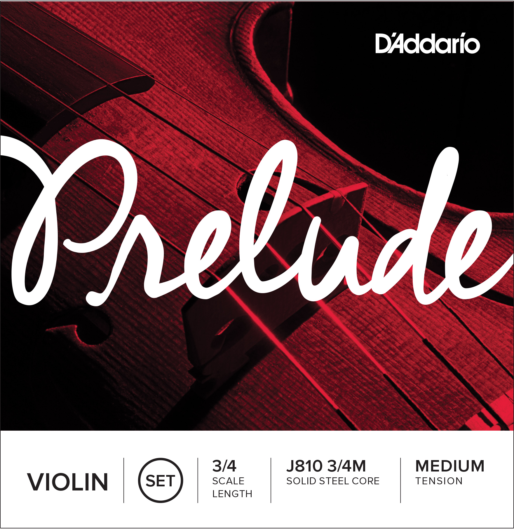 D'Addario Prelude Violin String Set 3/4 Scale Medium Tension