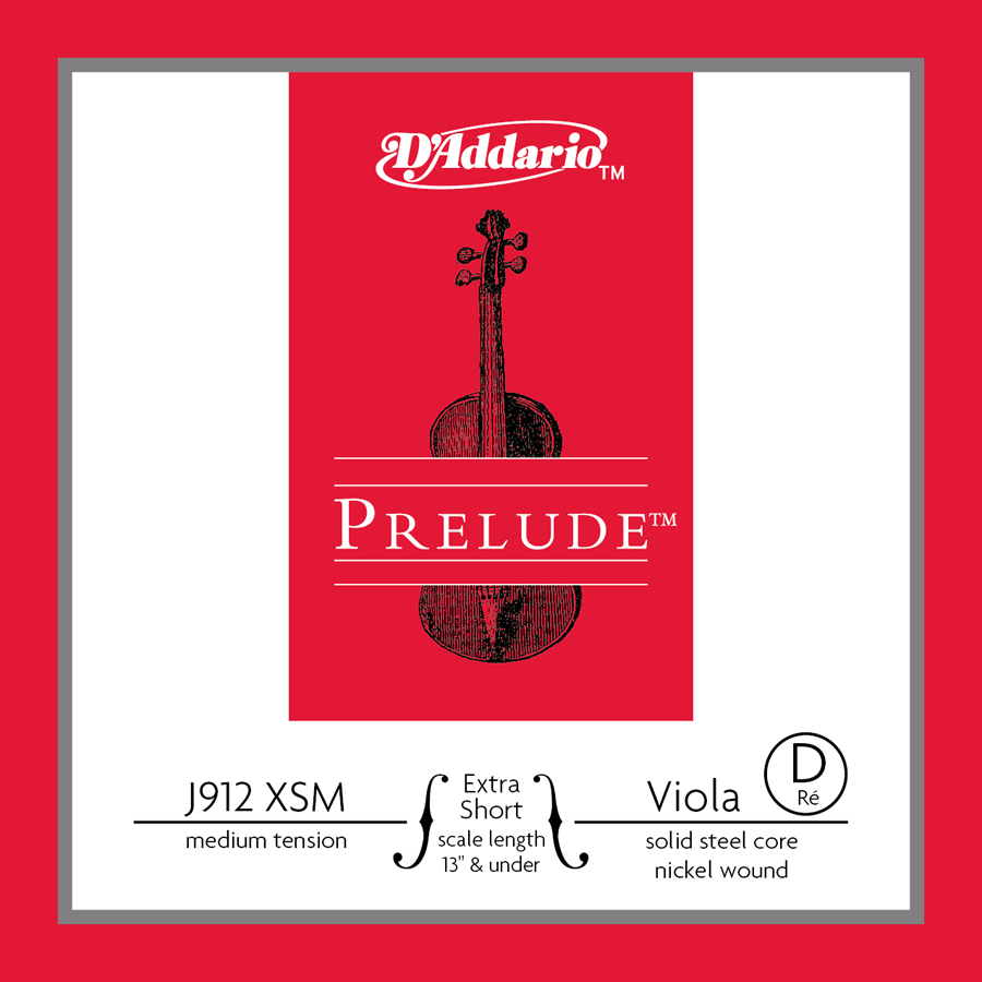 D'Addario Prelude Viola Single D String, Extra Short Scale, Medium Tension