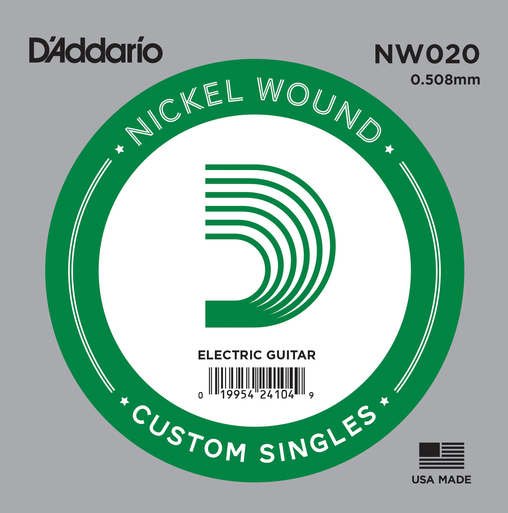 D'Addario NW020 Nickel Wound Electric Guitar Single String .020
