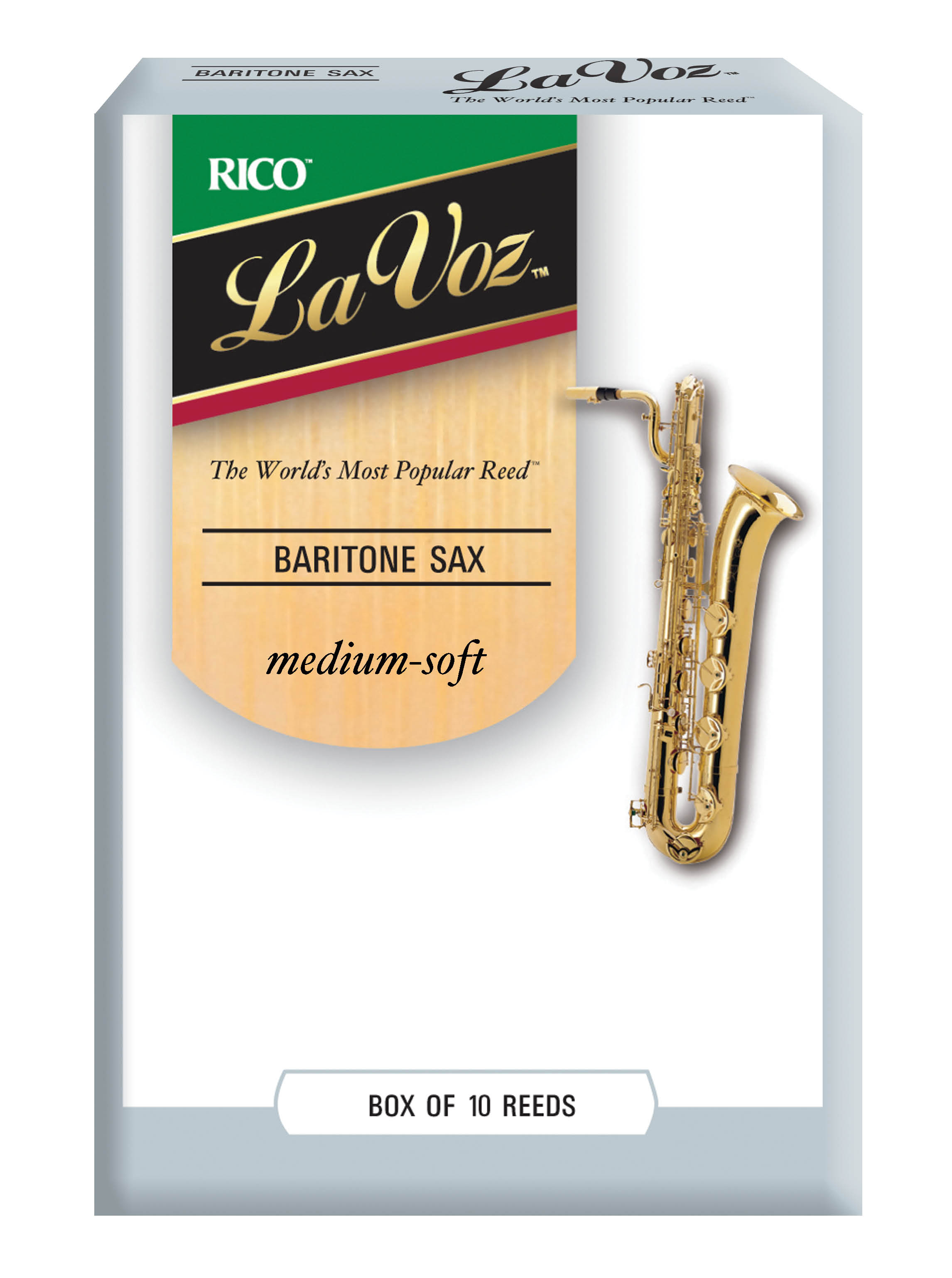 La Voz 10 pack Med Soft Bari Sax reeds