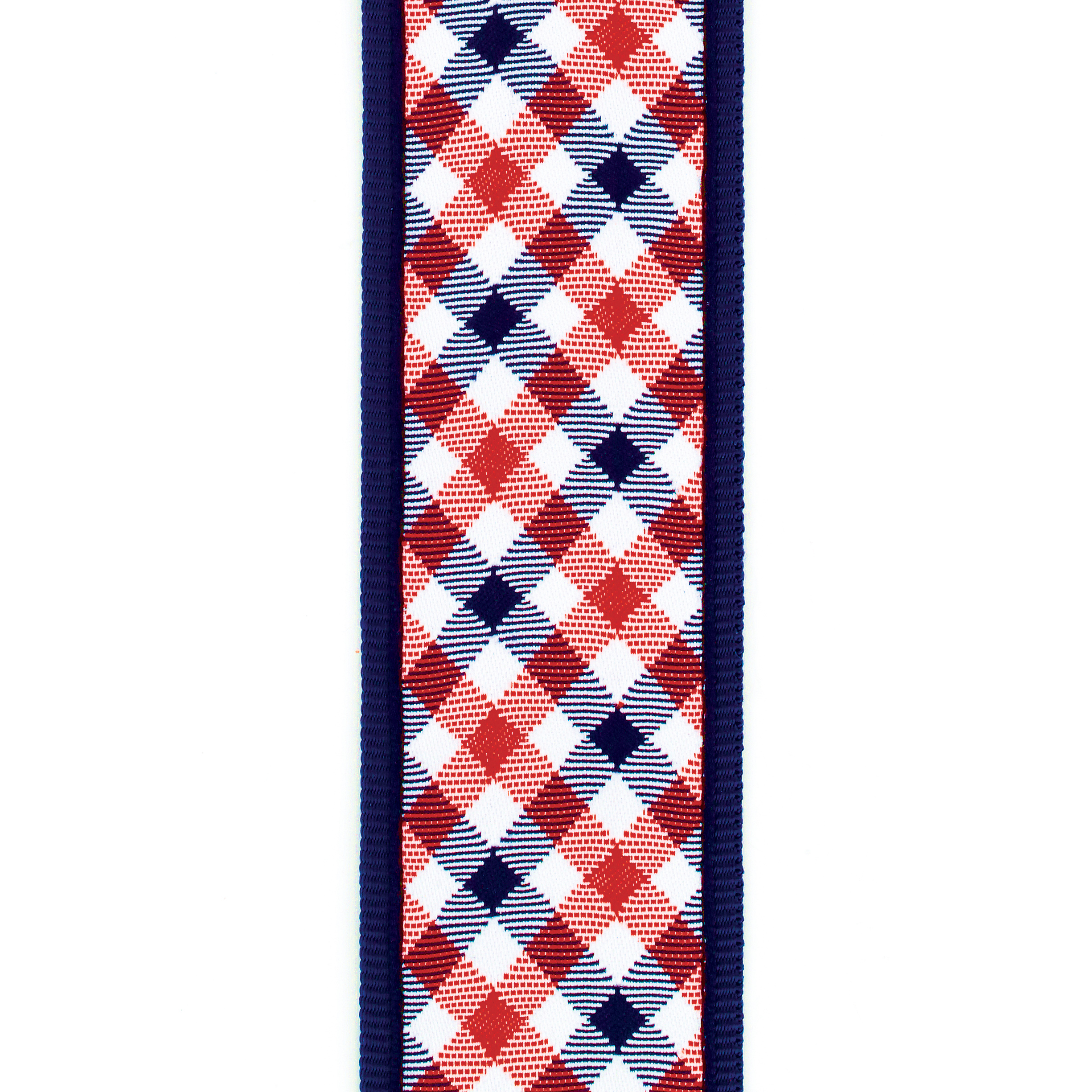 D'Addario Gingham Woven Guitar Strap, Red and Navy