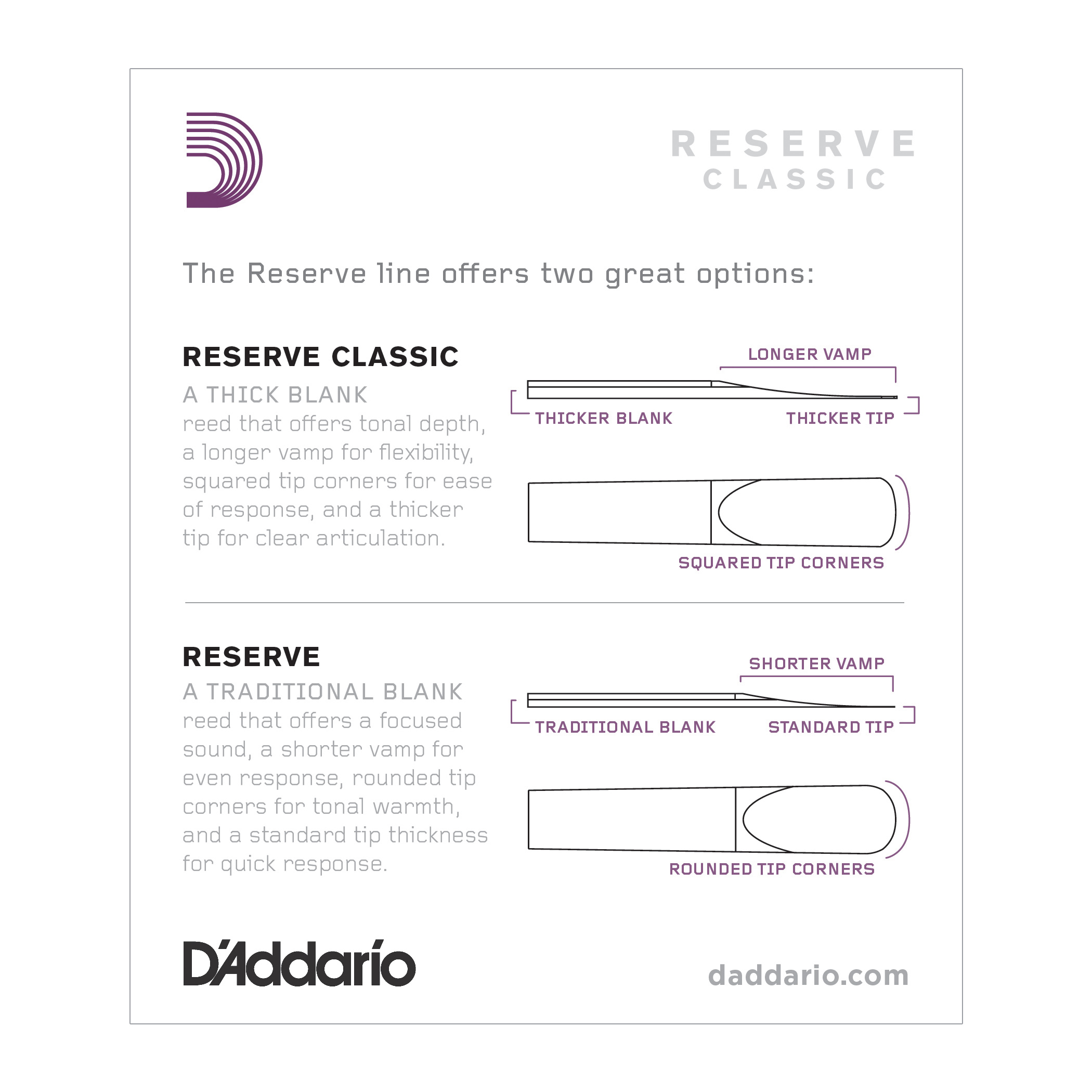D'Addario Reserve Classic Bb Clarinet Reeds Strength 3.5+ 10-pack