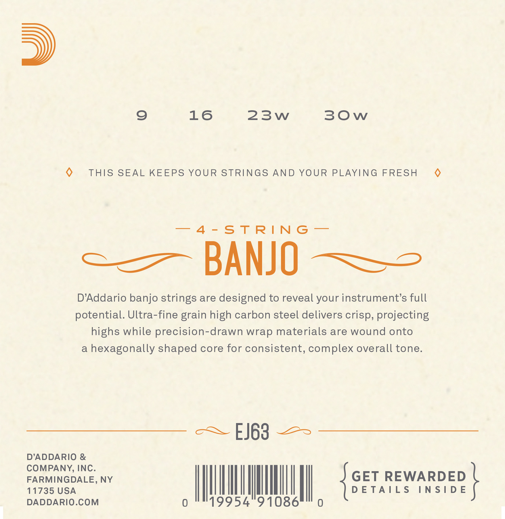 D'Addario EJ63 Tenor Banjo Strings 9-30 Nickel
