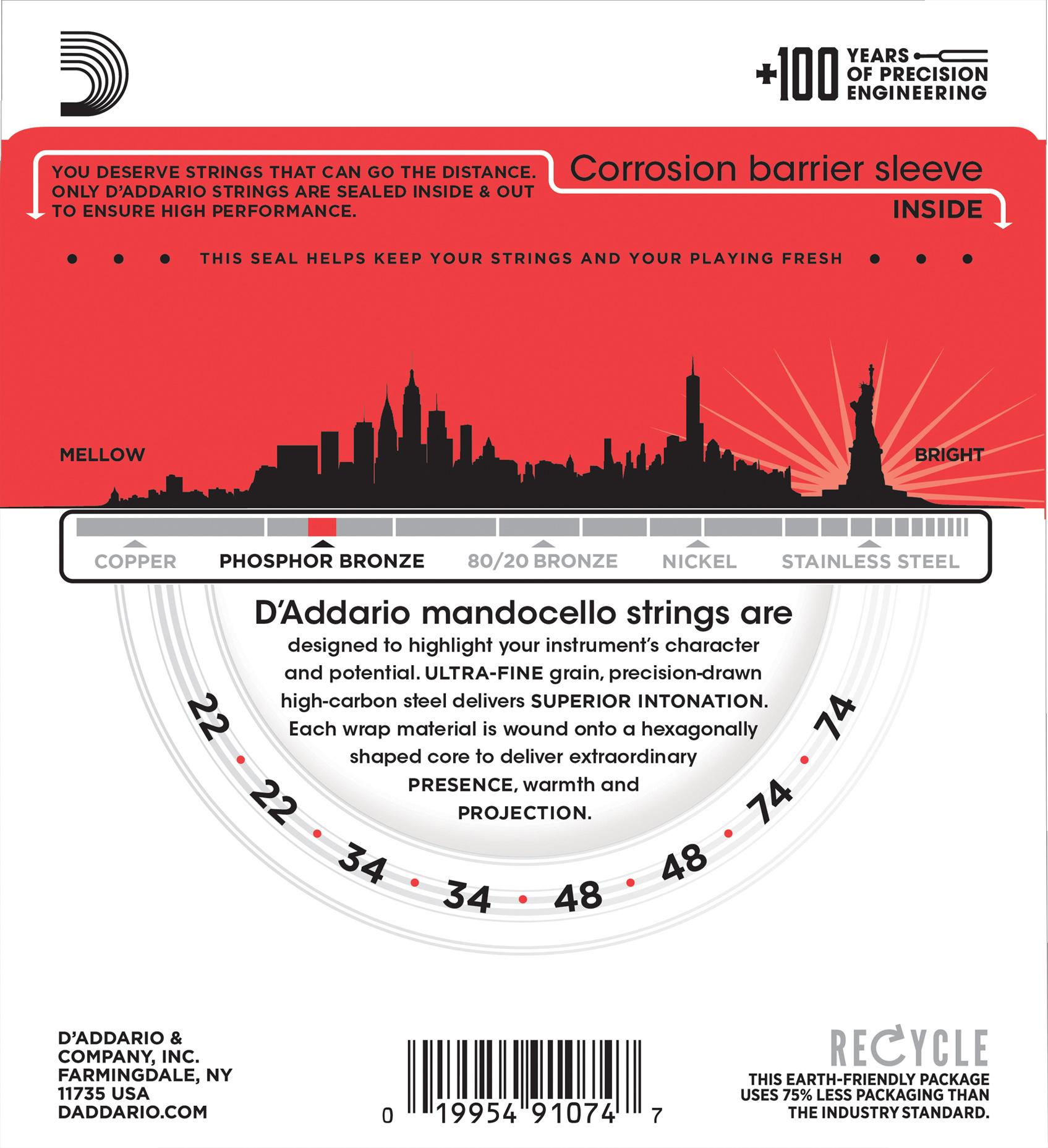 D'Addario J78 Phosphor Bronze Mandocello Strings, 22-74