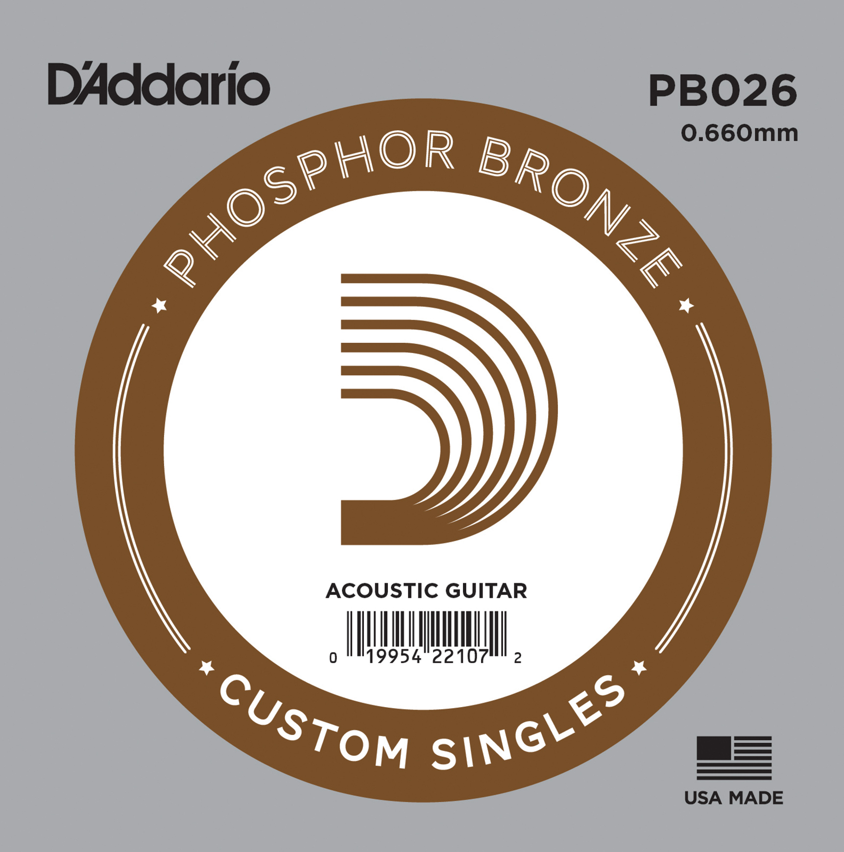 D'Addario PB026 Phosphor Bronze Wound Acoustic Guitar Single String .026