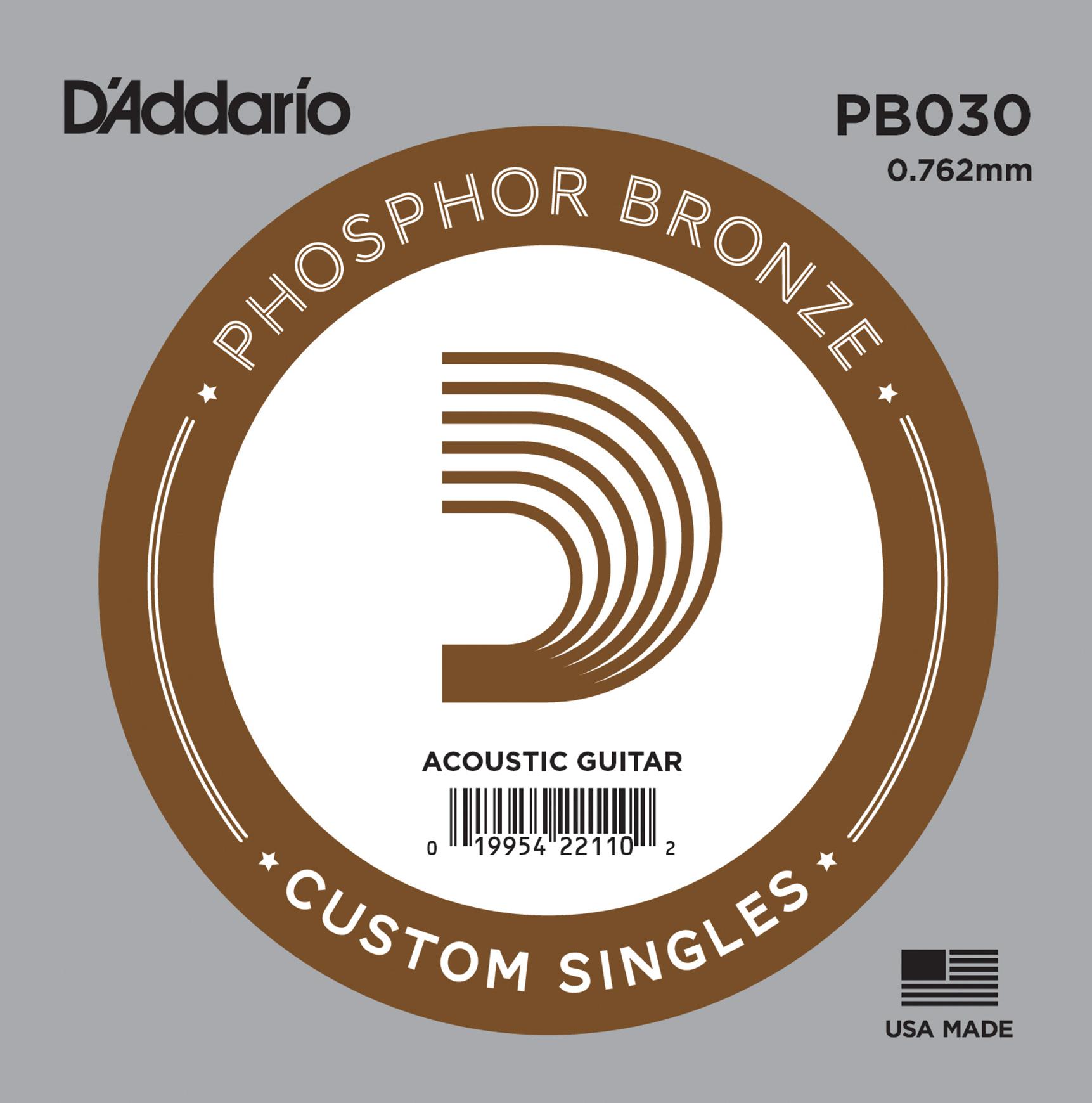D'Addario PB030 Phosphor Bronze Wound Acoustic Guitar Single String .030