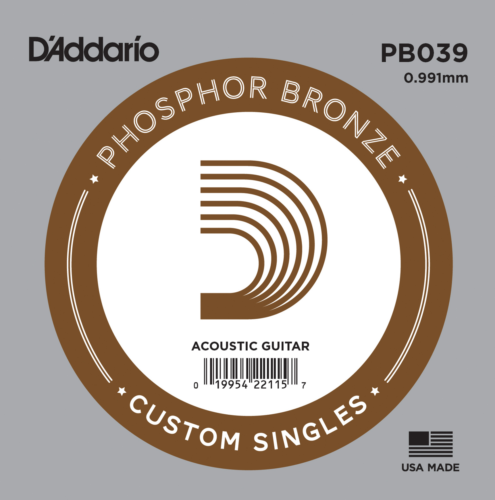 D'Addario PB039 Phosphor Bronze Wound Acoustic Guitar Single String .039