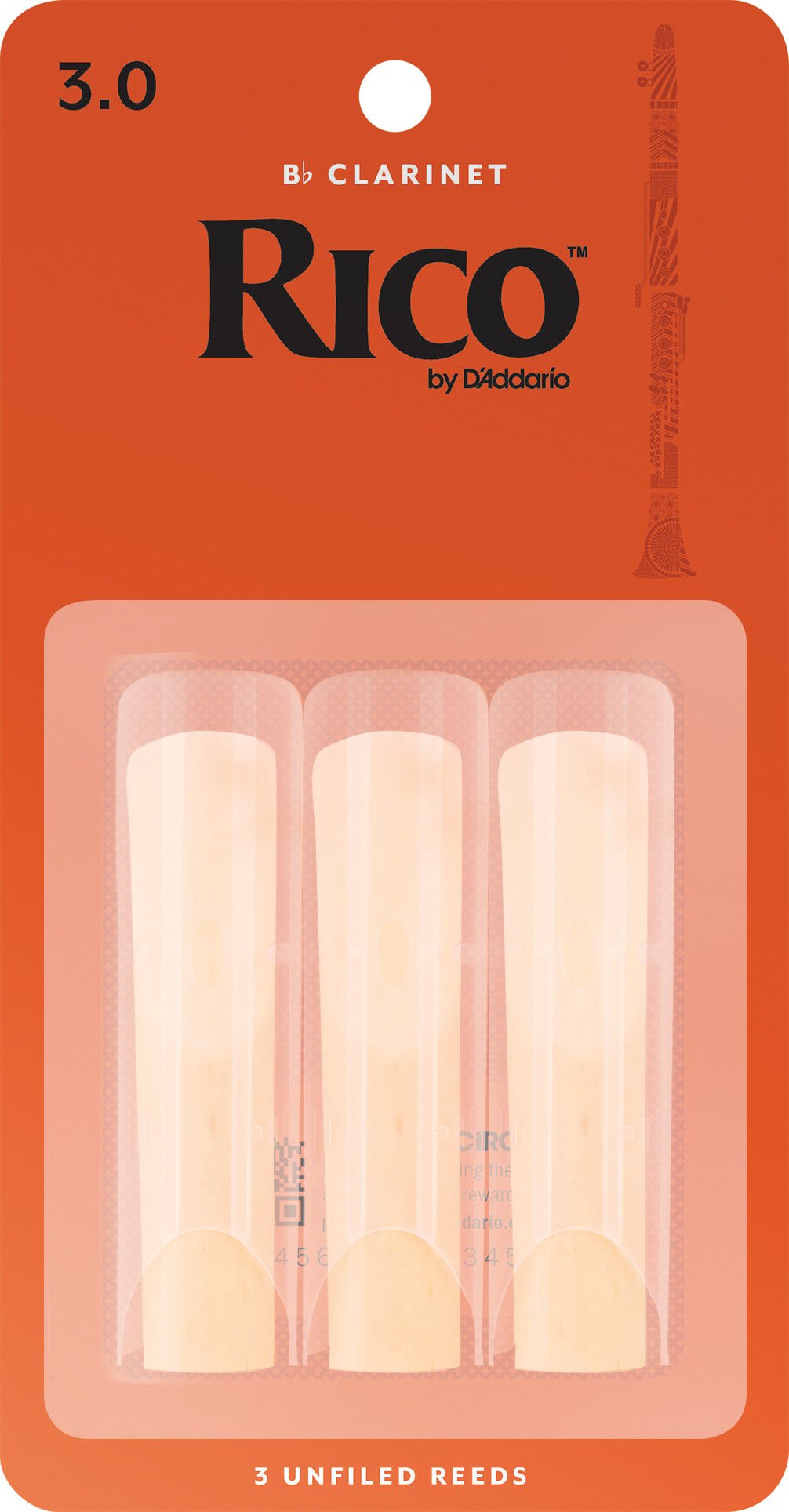 Rico by D'Addario Bb Clarinet Reeds 03-pack, Strength 3