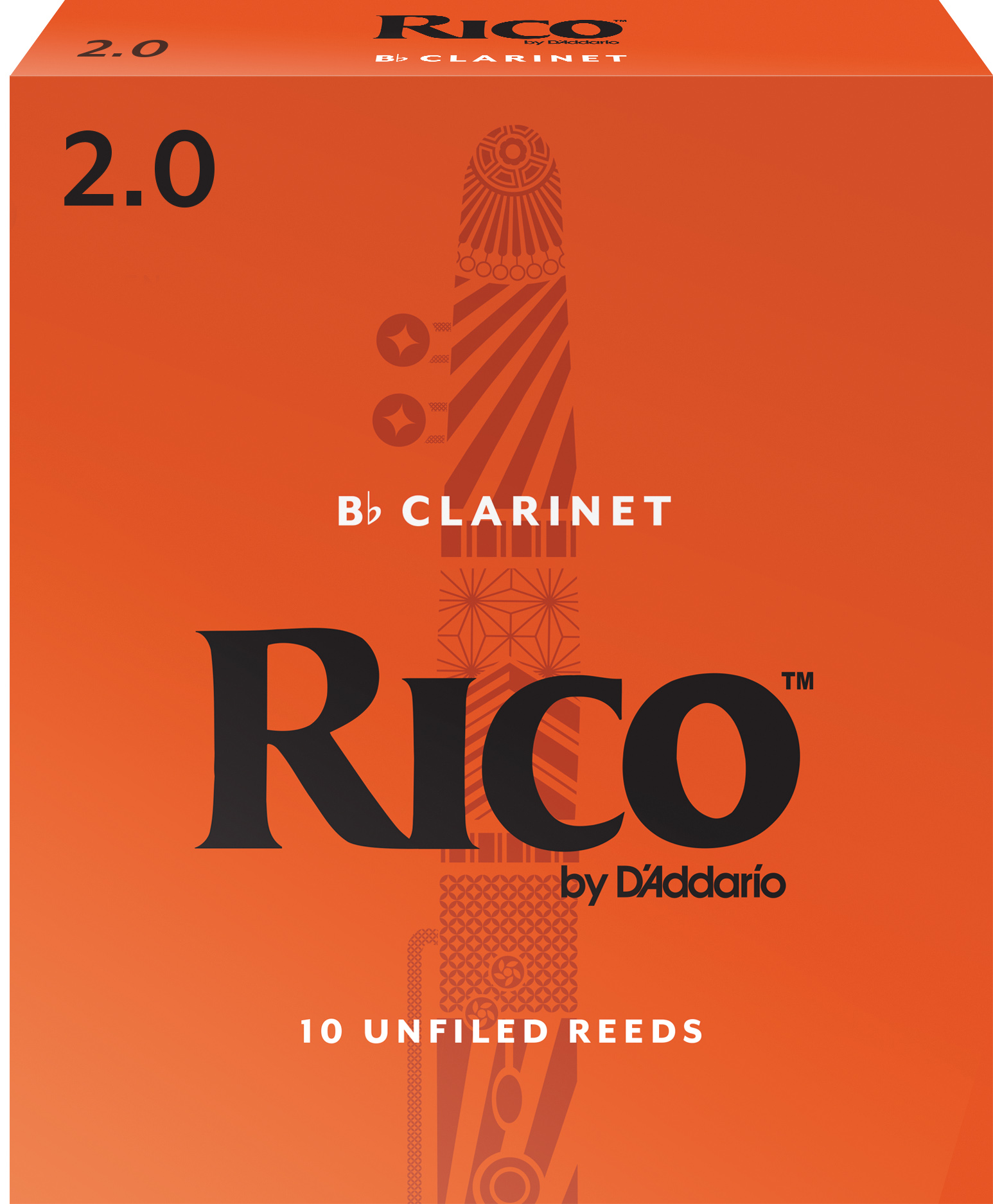 Rico by D'Addario Bb Clarinet Reeds 10-pack, Strength 2