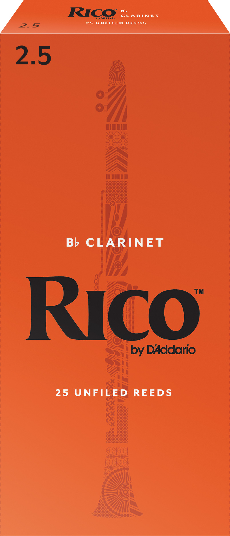 Rico by D'Addario Bb Clarinet Reeds 25-pack, Strength 2.5