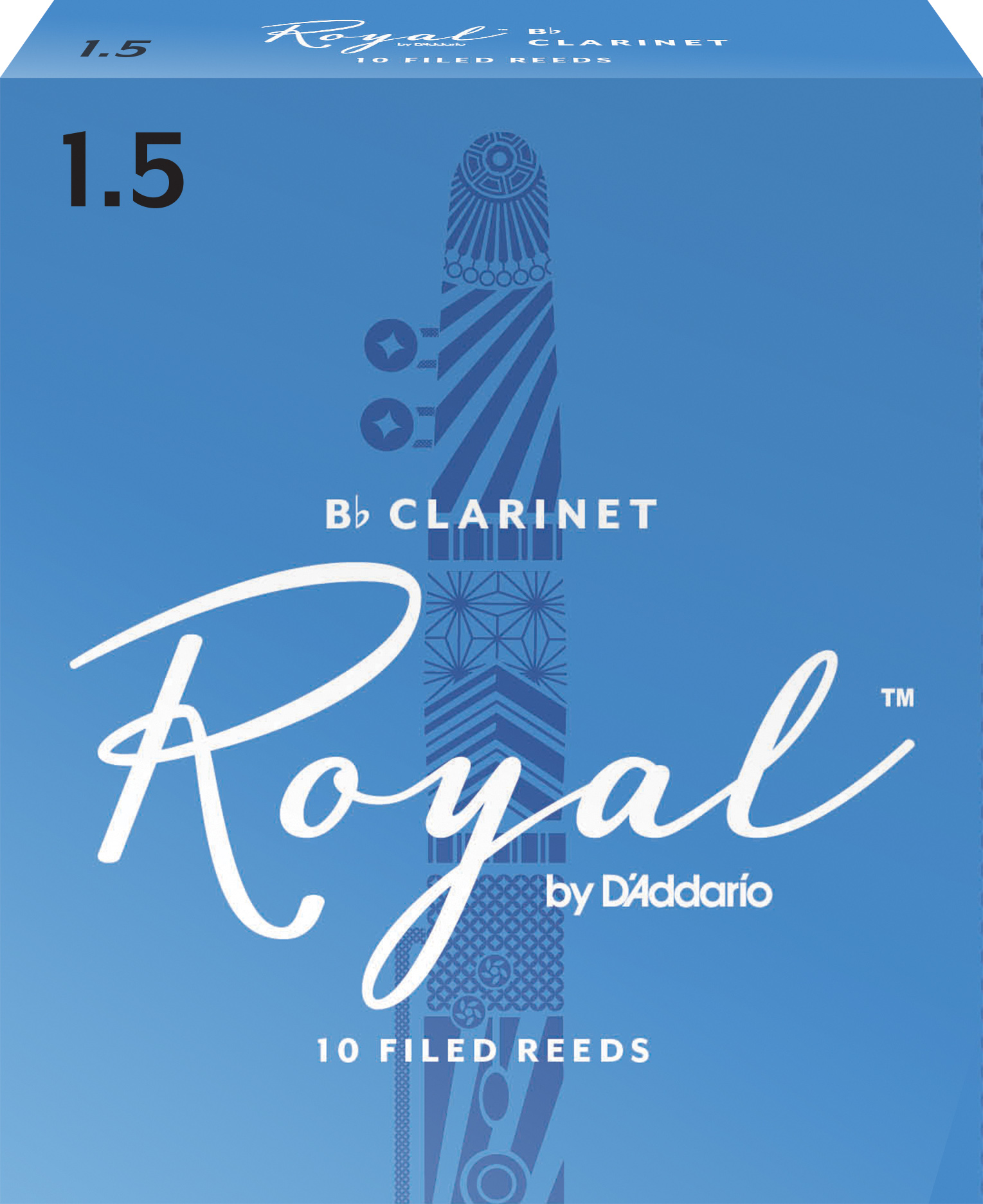 Royal by D'Addario Bb Clarinet Reeds Strength 1.5 10-pack