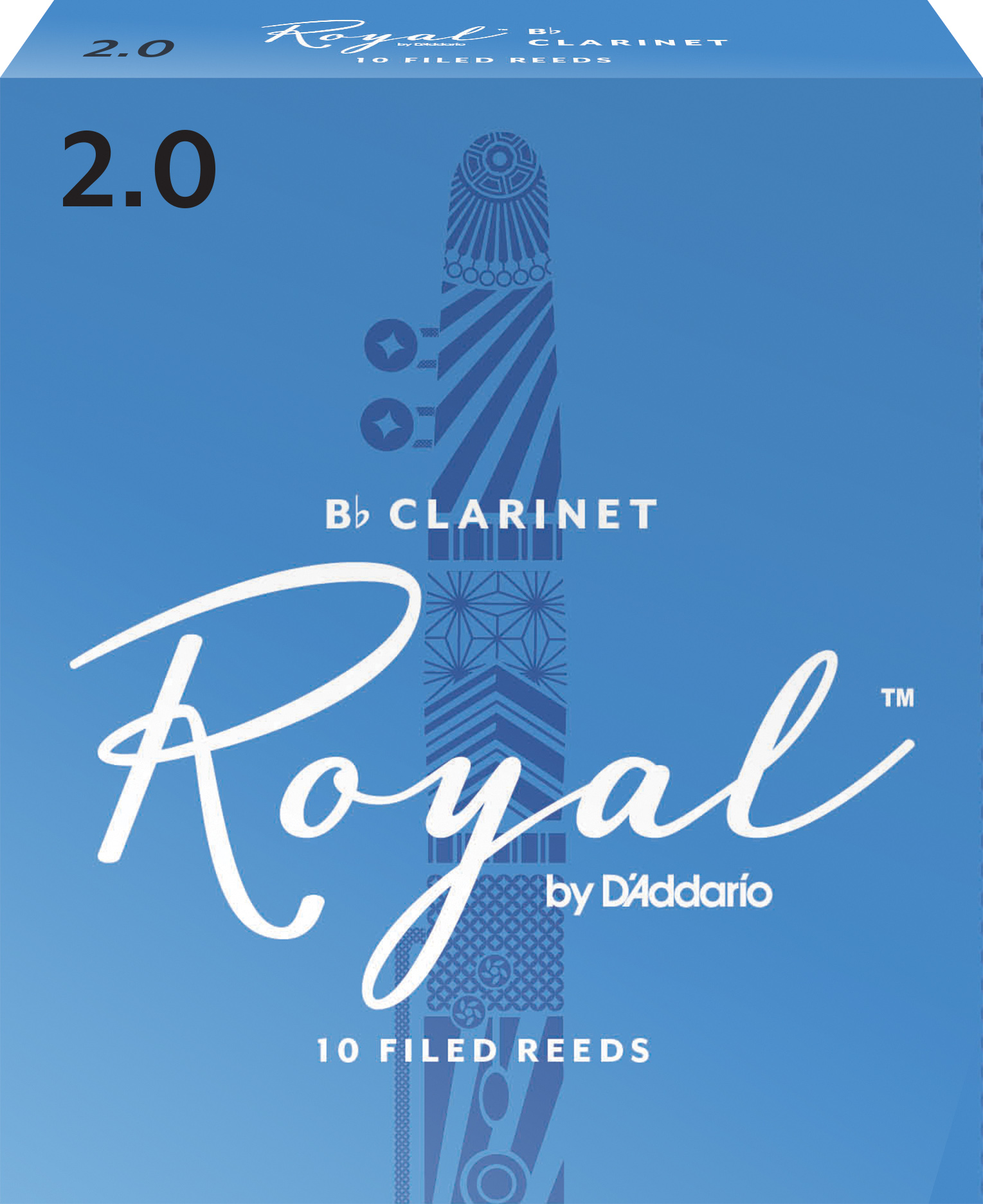 Royal by D'Addario Bb Clarinet Reeds, Strength 2, 10-pack