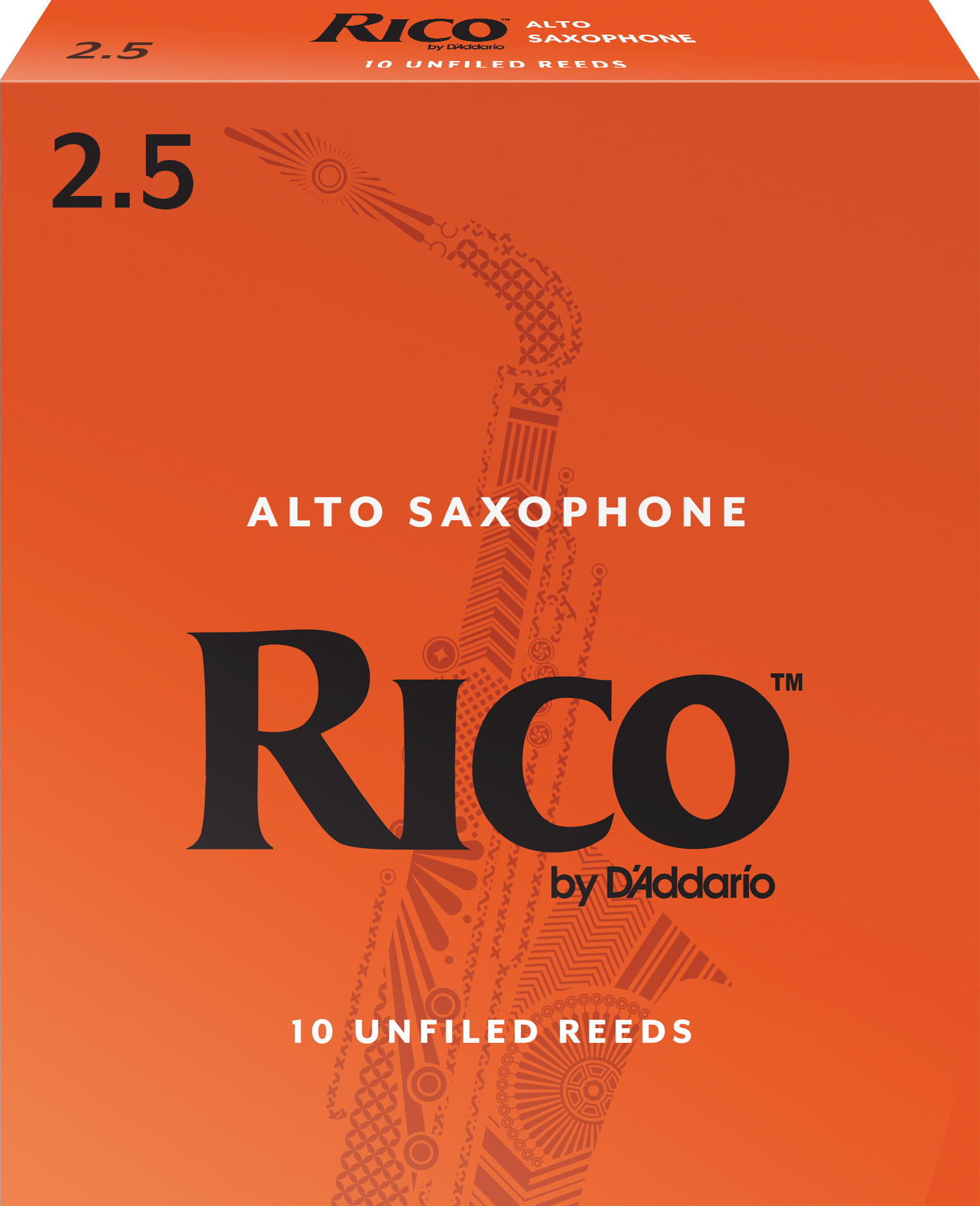 Rico by D'Addario Alto Sax Reeds, Strength 2.5, 10-pack