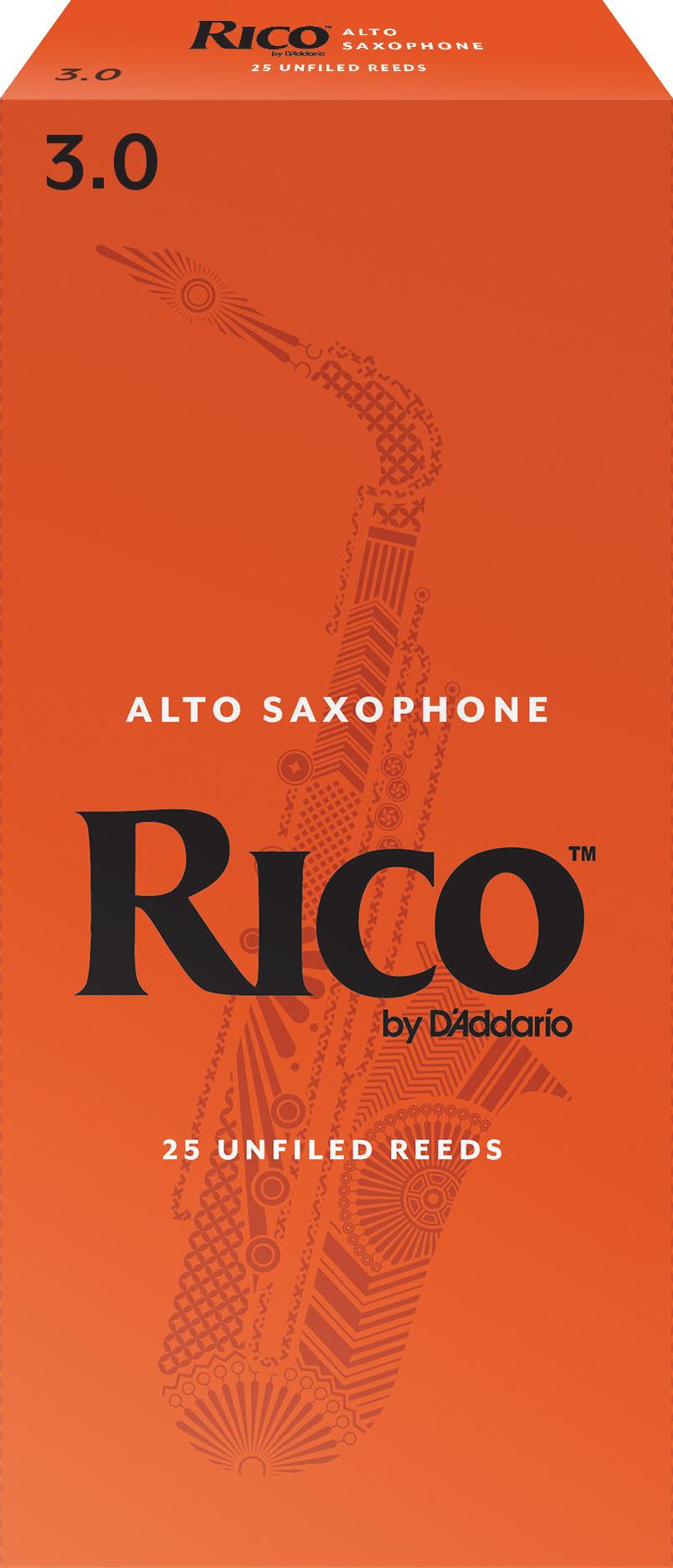 Rico by D'Addario Alto Sax Reeds 25-pack, Strength 3
