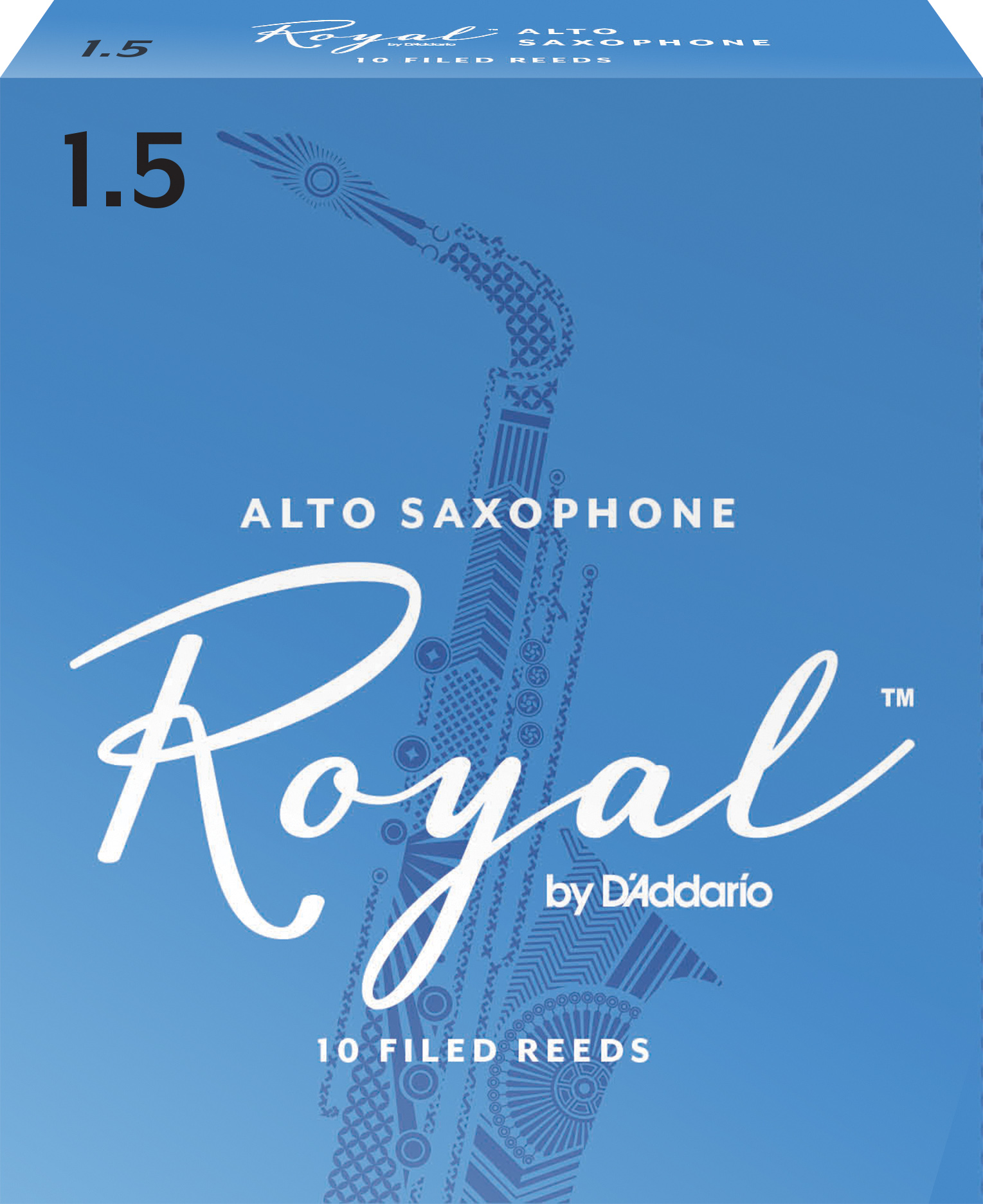 Royal by D'Addario Alto Sax Reeds, Strength 1.5, 10-pack
