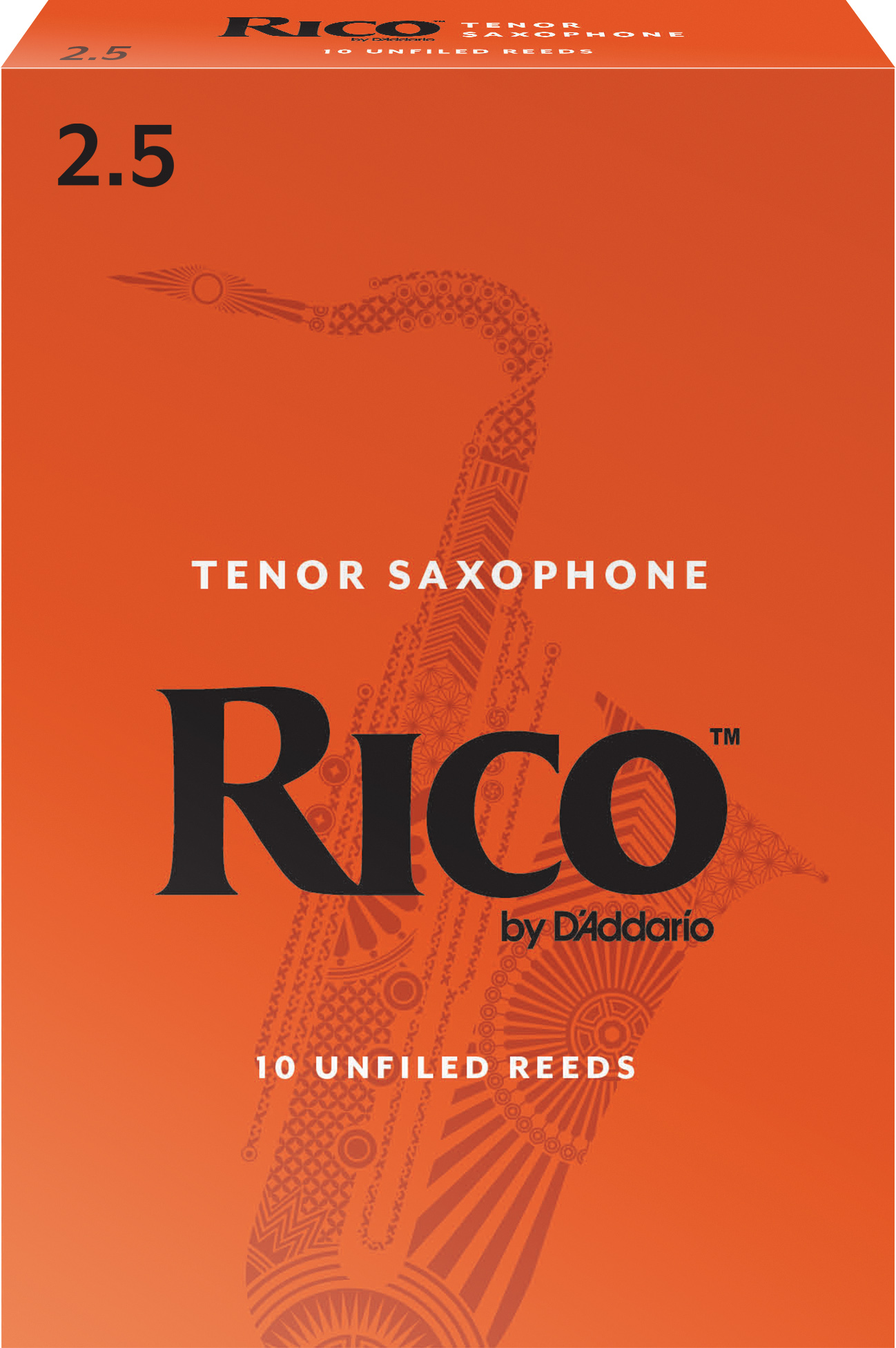 Rico by D'Addario Tenor Sax Reeds, Strength 2.5, 10-pack