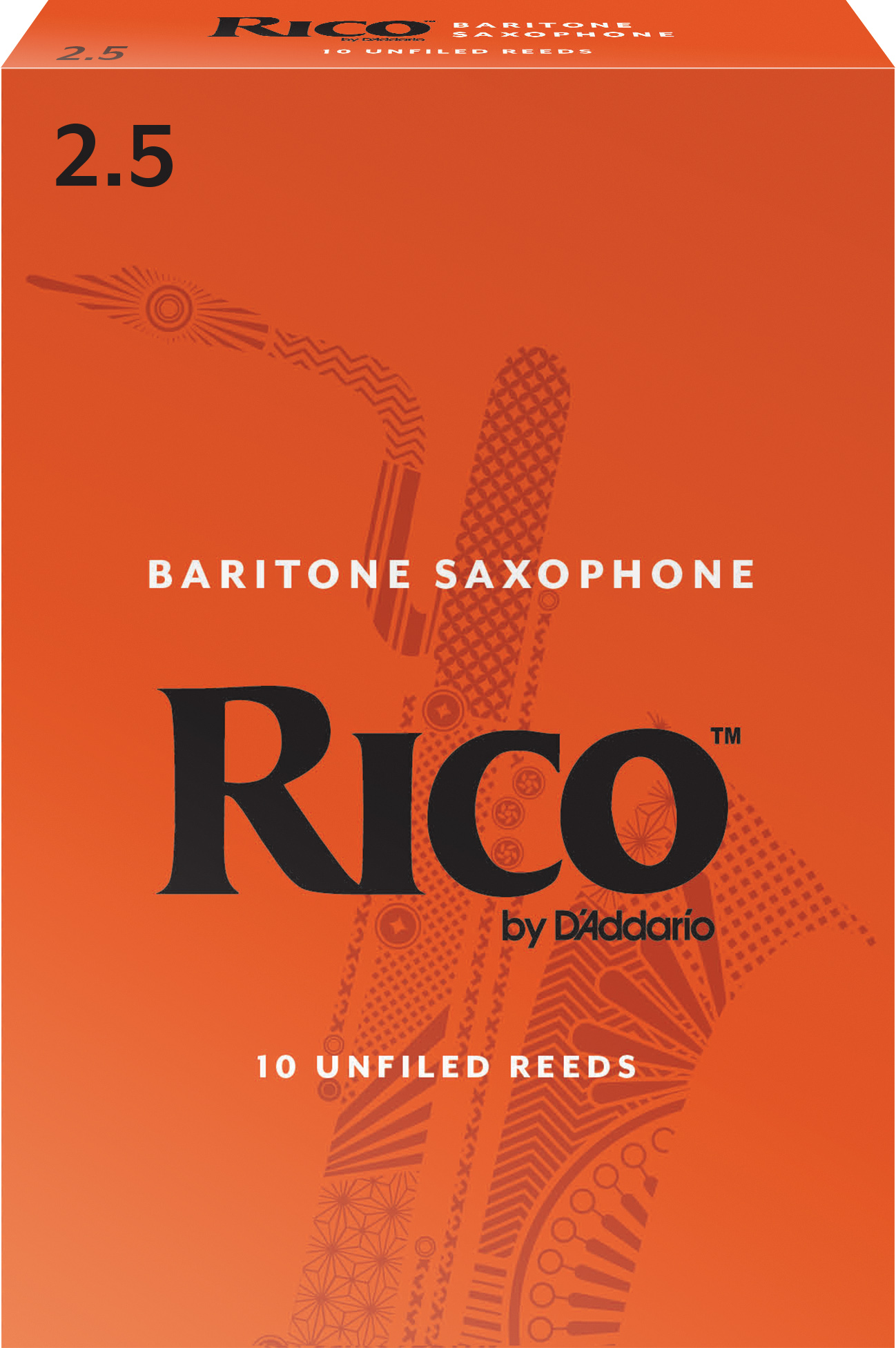 Rico by D'Addario Baritone Sax Reeds 10-pack, Strength 2.5
