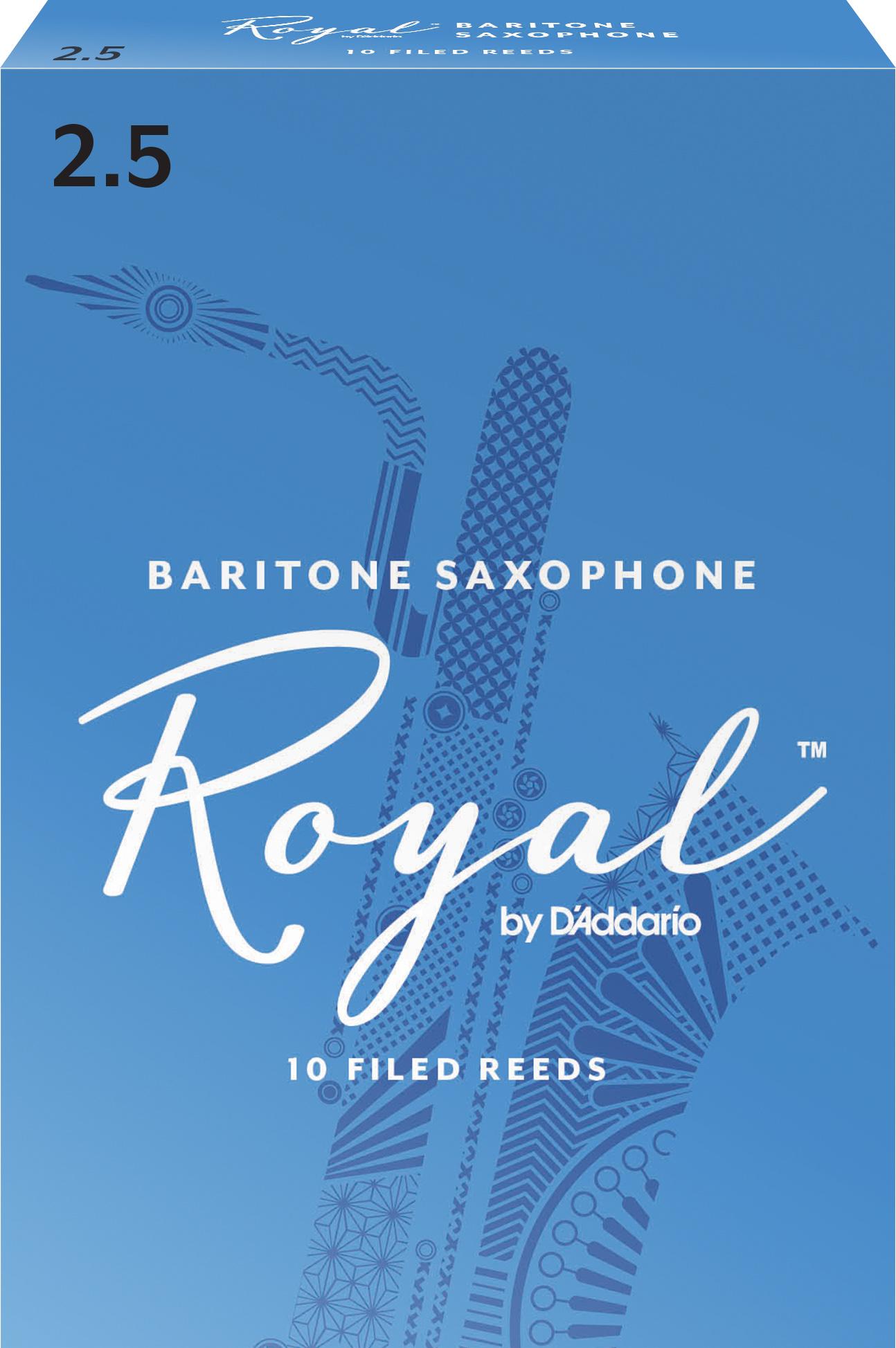 Royal by D'Addario Baritone Sax Reeds, Strength 2.5, 10-pack