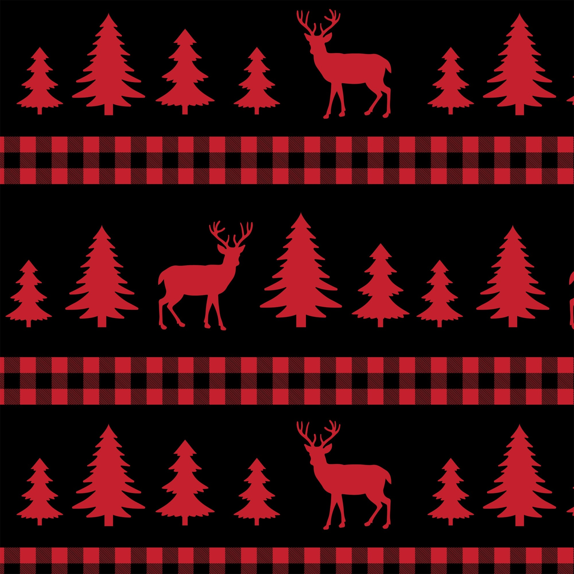 Deer Forest Plaid Cotton