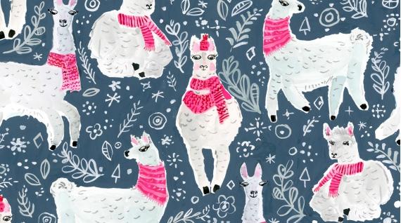 Winter Llamas (Moonlight)