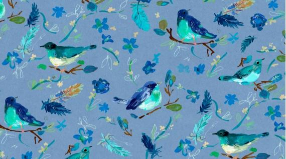 Blue Crush Romantic Birds multi