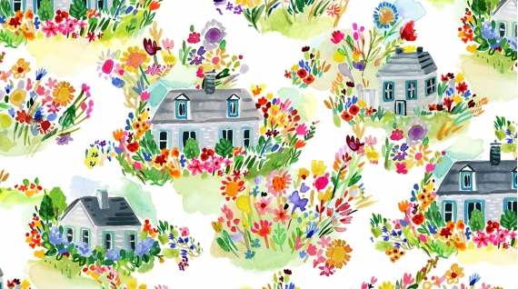 Summer Cottages White Fabric by Dear Stella