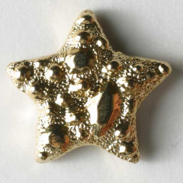 14 MM Gold Star Shaped Button