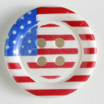 18 MM Round American Flag Patterned 4 Hole Button