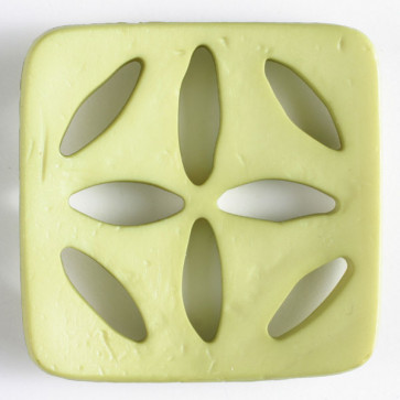 Square Polyamide Cut Out Button  - Light Green