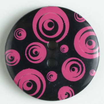 34mm Round Button - Black/Pink